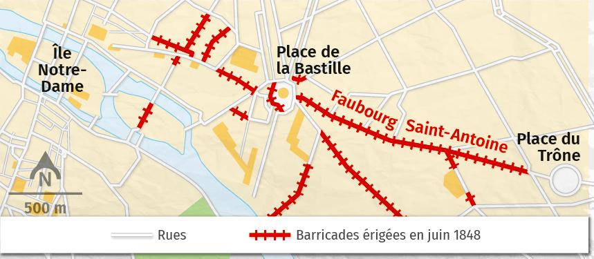 Juin 1848 : les barricades sur le faubourg Saint-Antoine (Paris)