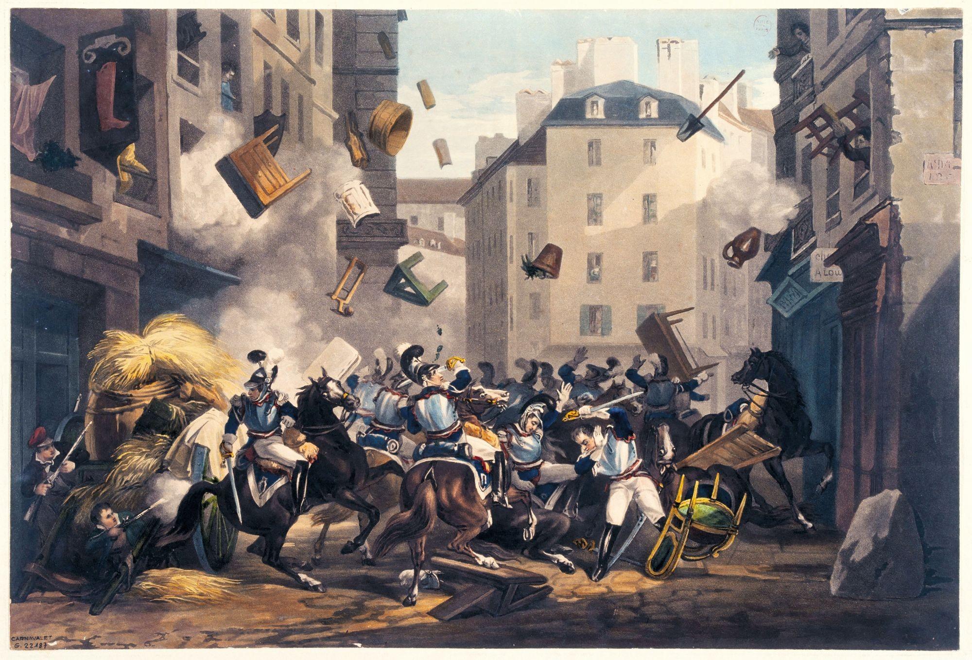 D'après Martinet, Combat dans la rue Saint-Antoine, v. 1830, aquatinte, 27 x 49 cm, musée Carnavalet, Paris.