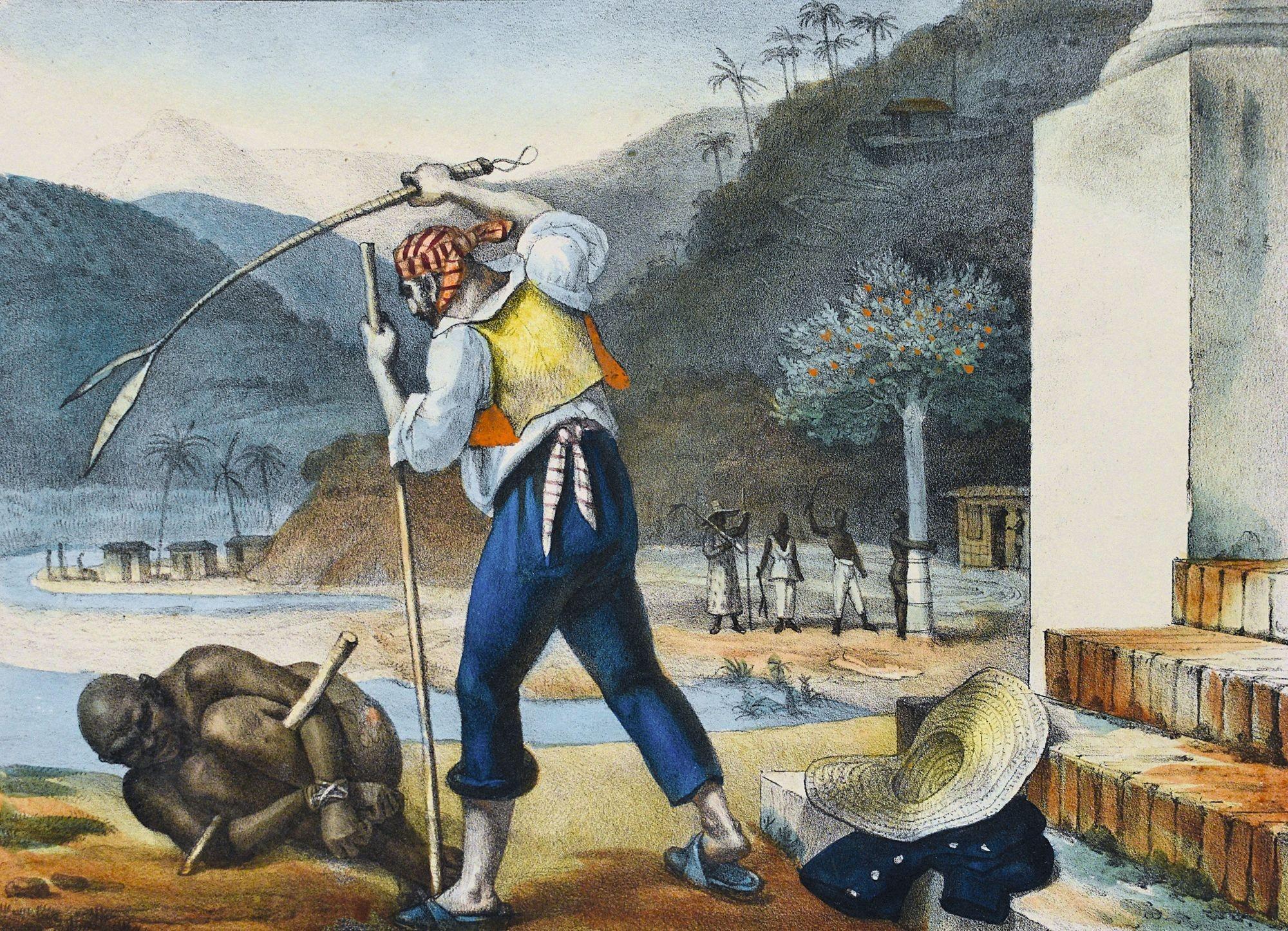 Jean-Baptiste Debret, Propriétaire punissant un esclave au Brésil, 1834, gravure.