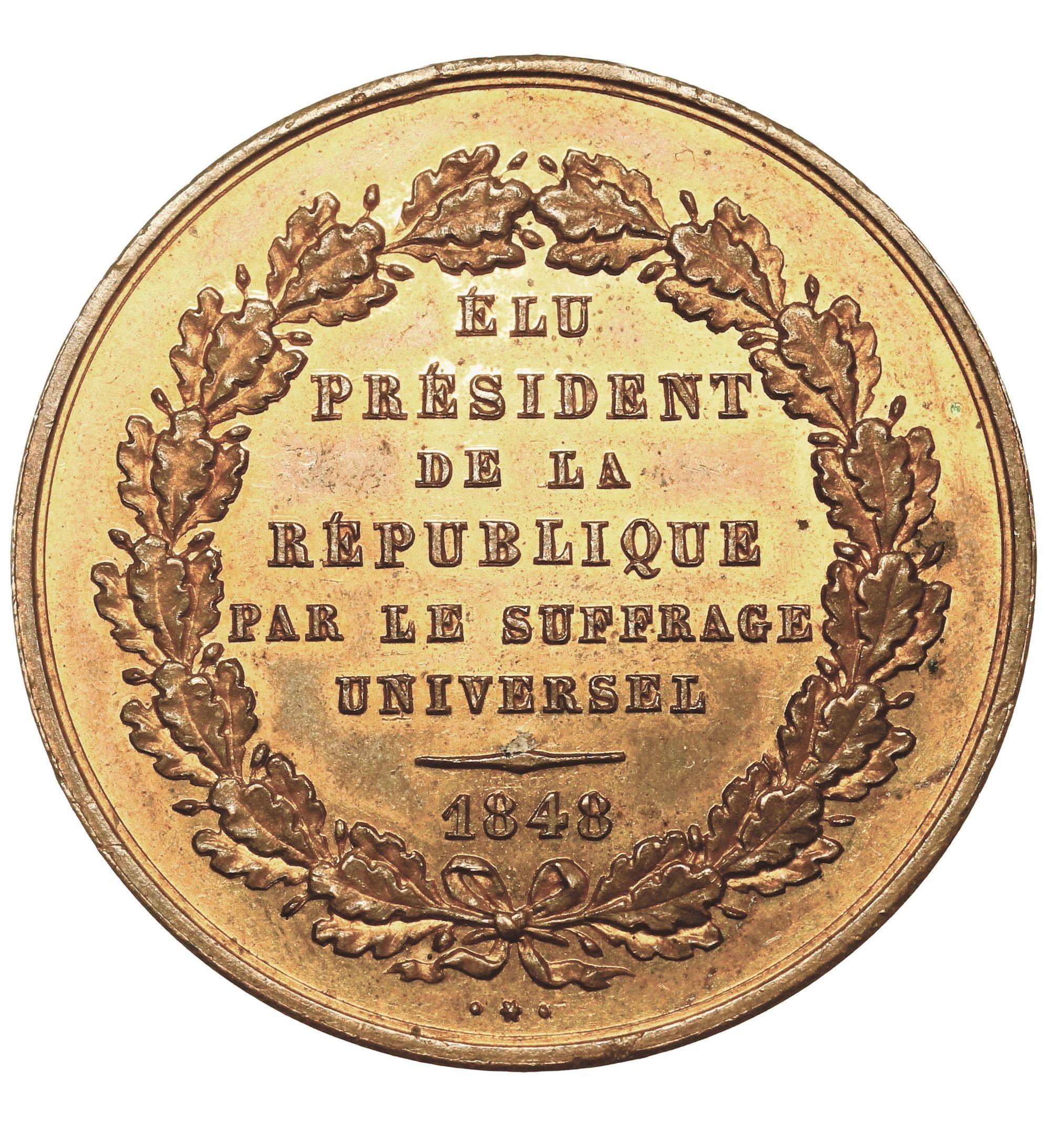 Médaille frappée en janvier 1849, pile