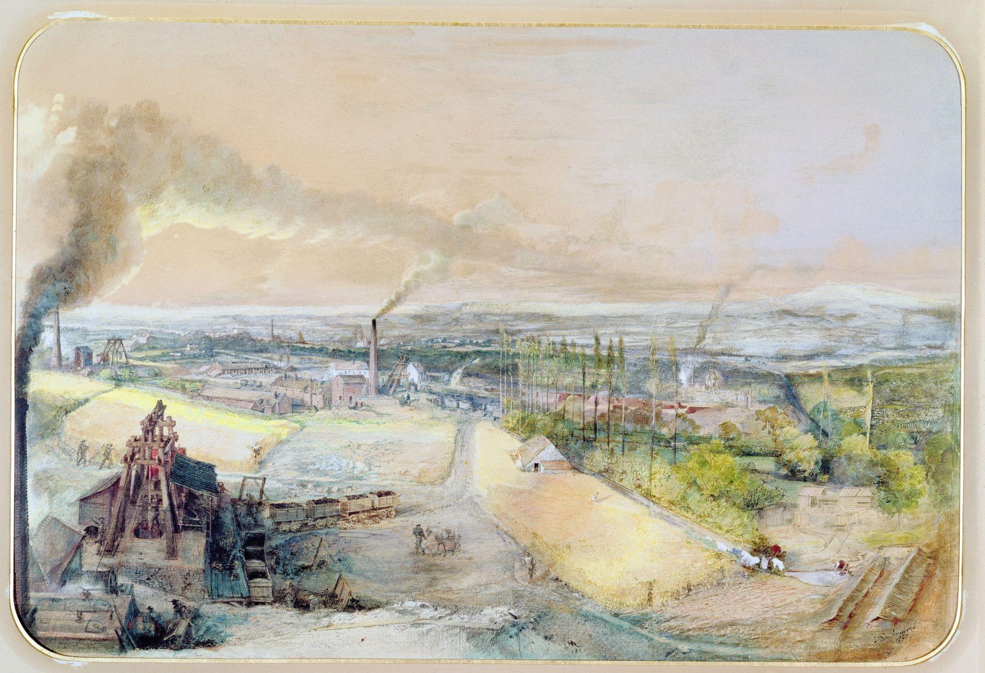 François-Ignace Bonhommé, Mines de houille de Blanzy, 1857, aquarelle sur papier, Conservatoire national des Arts et Métiers, Paris.