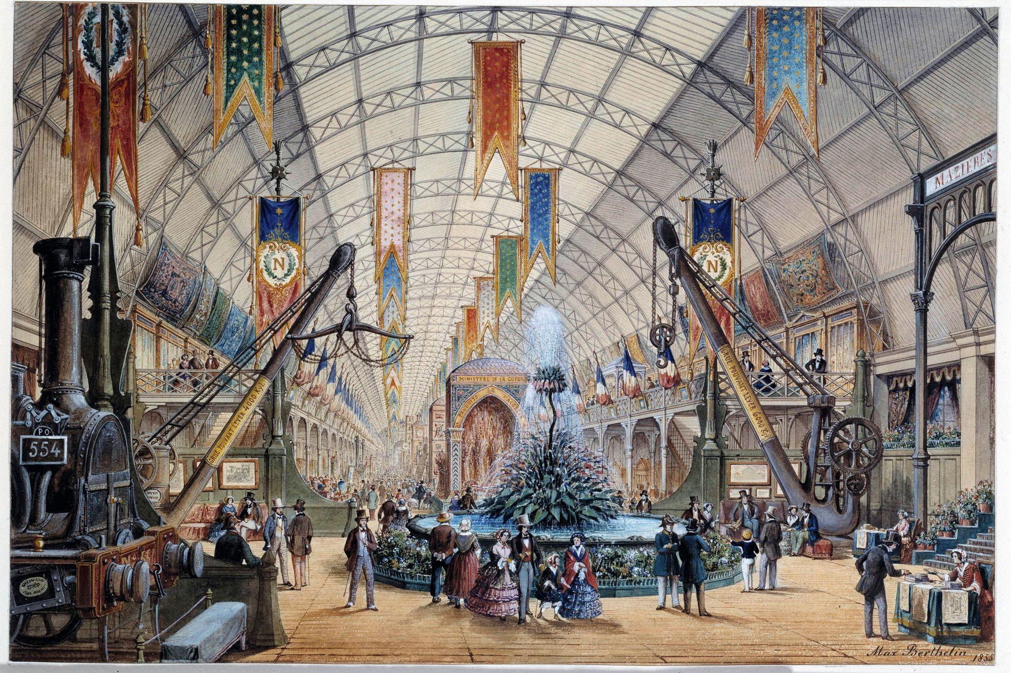 Max Berthelin, Vue intérieure de la galerie des machines, Palais de l'Industrie, 1855, gravure, 24 x 36 cm, musée Carnavalet, Paris.