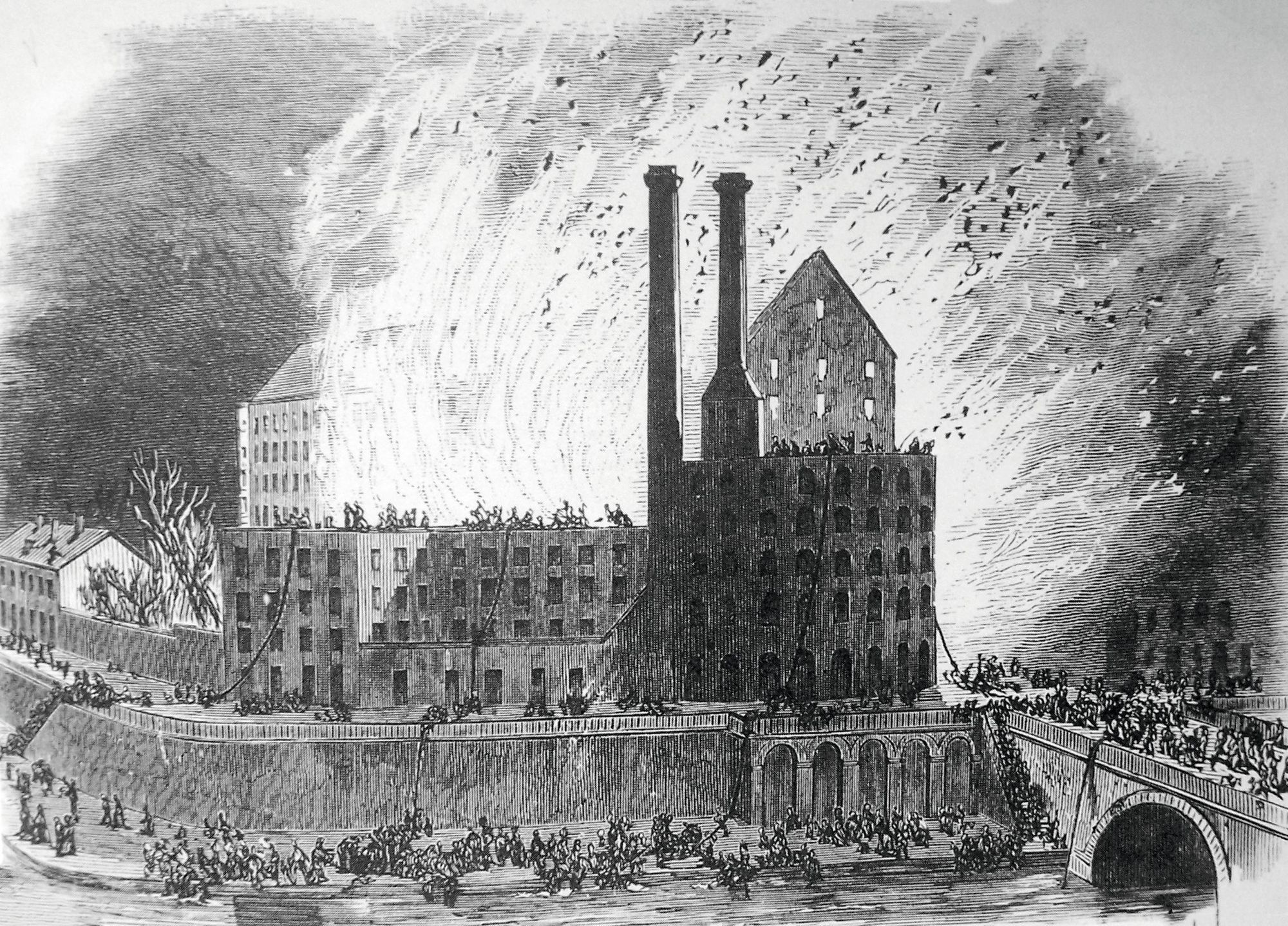 Anonyme, L'Incendie de la Motte-Bossut, 1866, gravure, médiathèque, Roubaix.