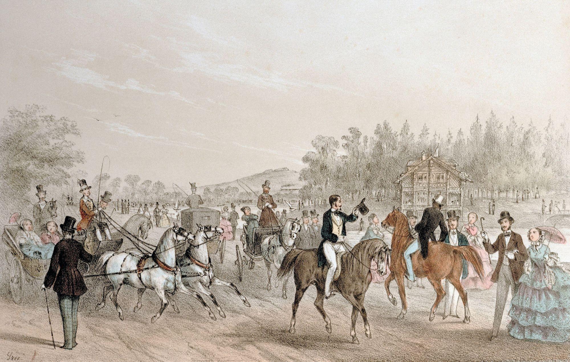 Anonyme, d'après Marie-Hector Yvert, La Promenade au bois de Boulogne. Le chalet et la rivière, v. 1855, lithographie en couleur, 28 x 18 cm, collection privée, Paris.