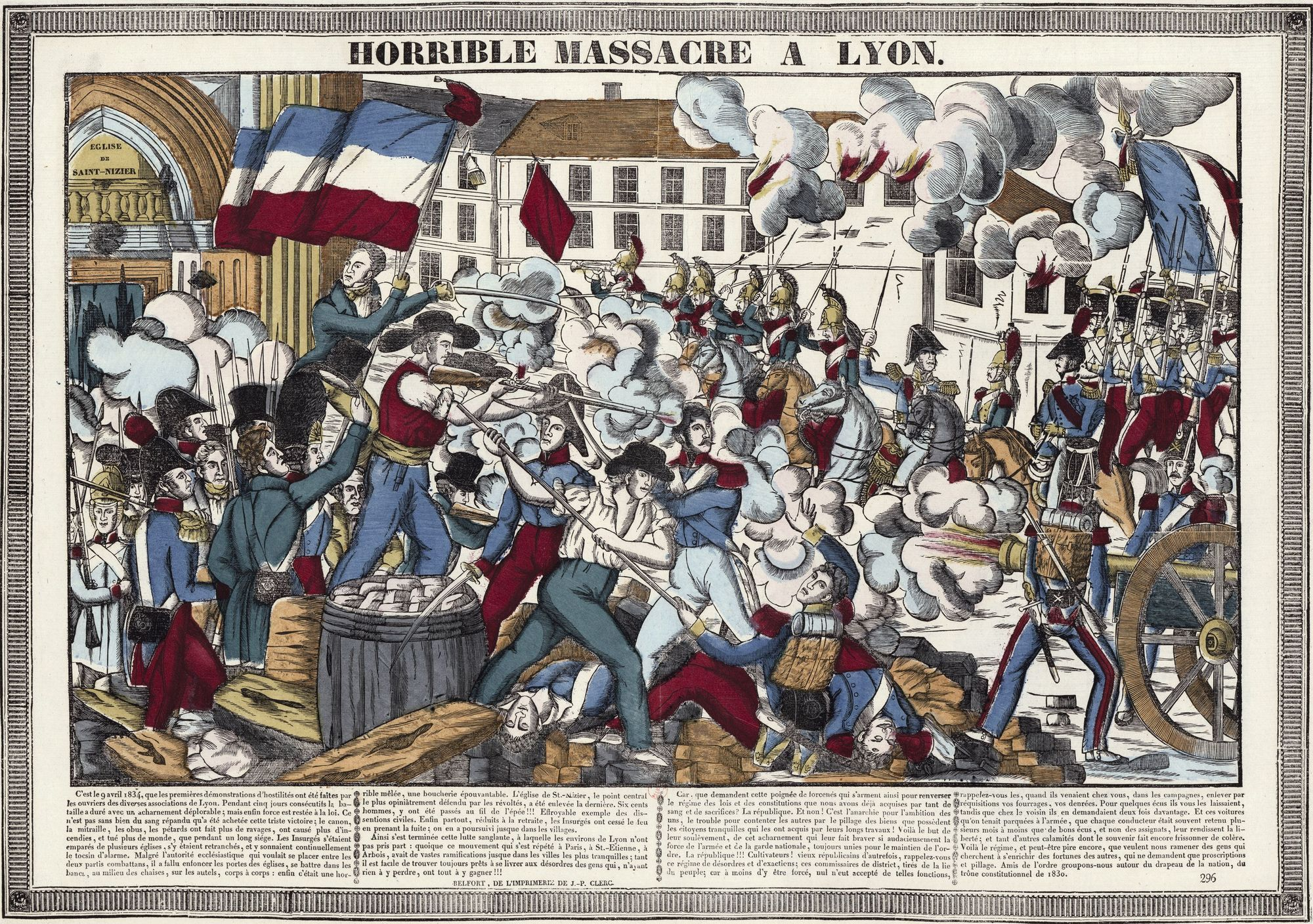 Anonyme, Horrible massacre à Lyon, 1834, estampe, 39,5 x 56,5 cm, BnF, Paris.