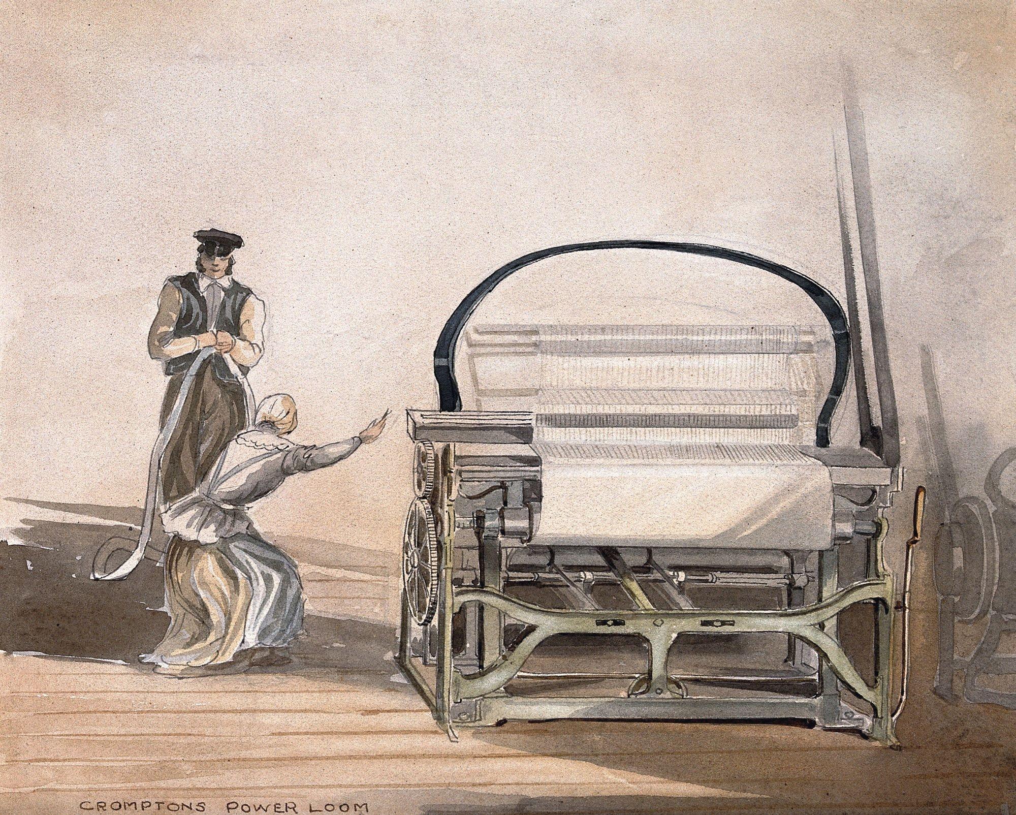 Anonyme, Métier à tisser mécanique, ouvrière et contremaître, aquarelle d'après un dessin datant de 1835.