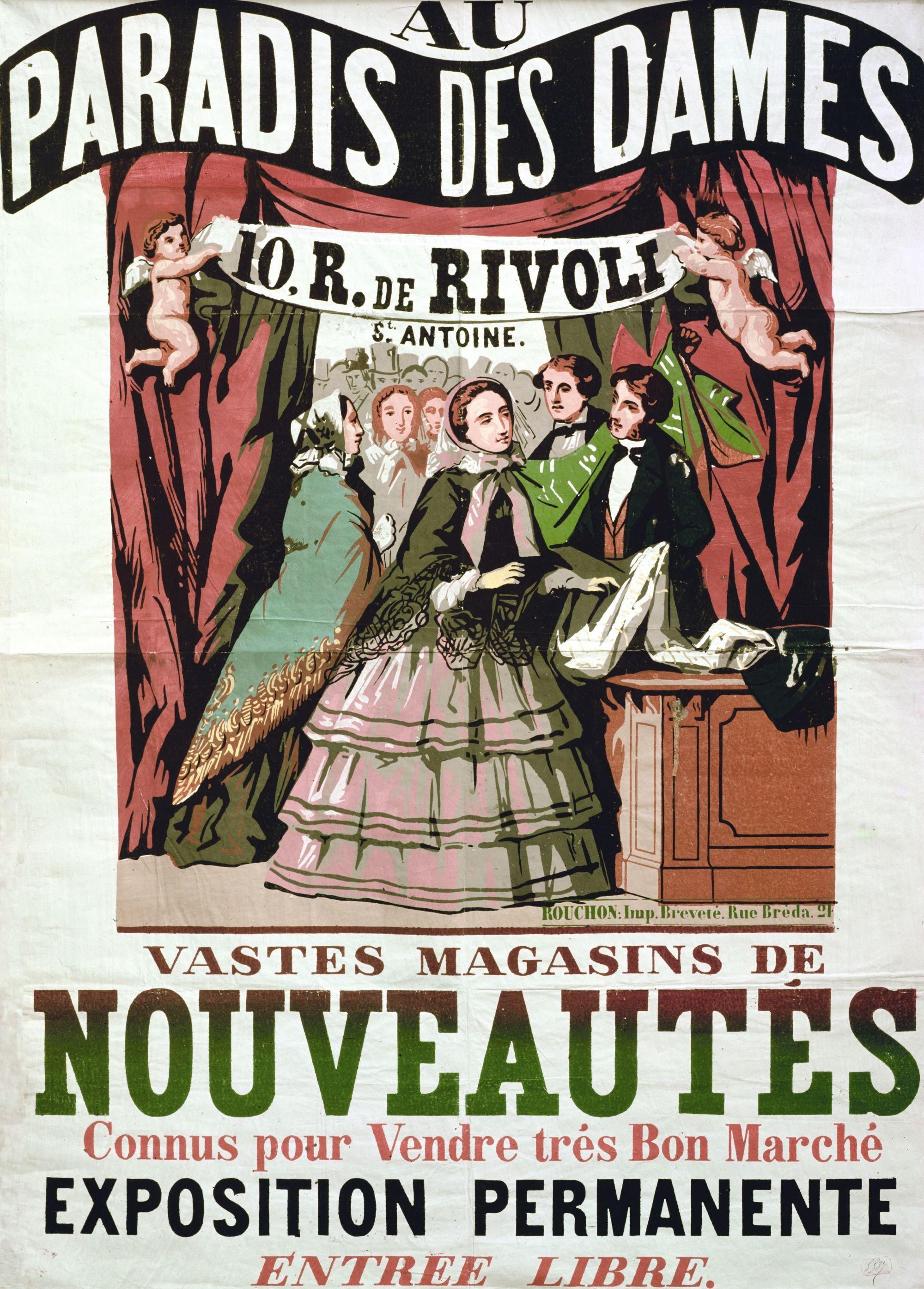 Anonyme, affiche publicitaire, 1856, gravure sur bois en couleur, imprimée chez Jean-Alexis Rouchon, 140 x 100 cm, BnF, Paris.