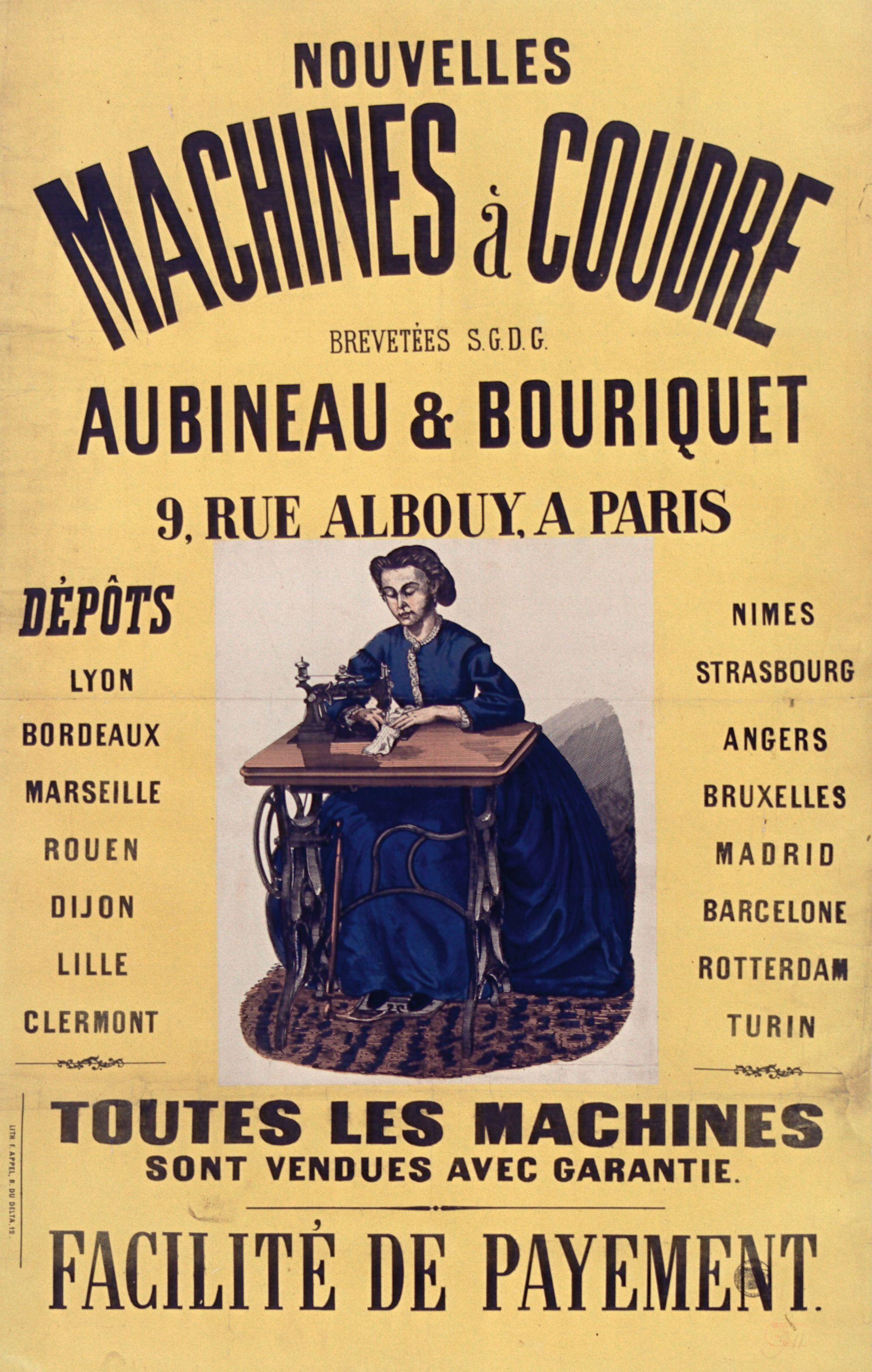Machine à coudre Aubineau et Bouriquet, 1866, lithographie en couleur, 106 x 68 cm, BnF, Paris.