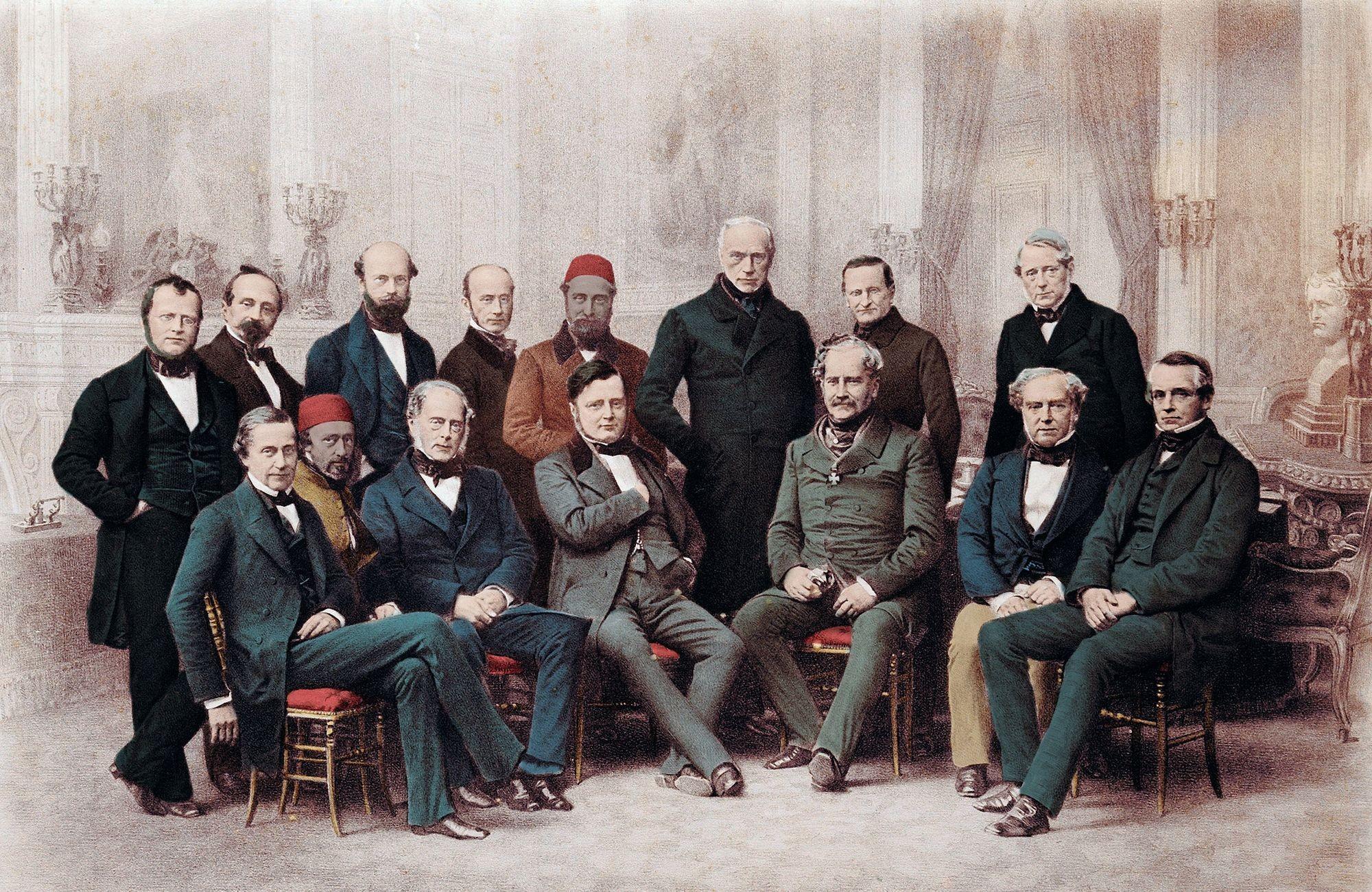 Anonyme, Représentants au congrès de Paris, 1856, gravure (coloriée plus tard), 33 x 17 cm, collection milanaise privée.