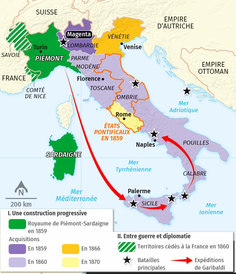 carte L'unité italienne