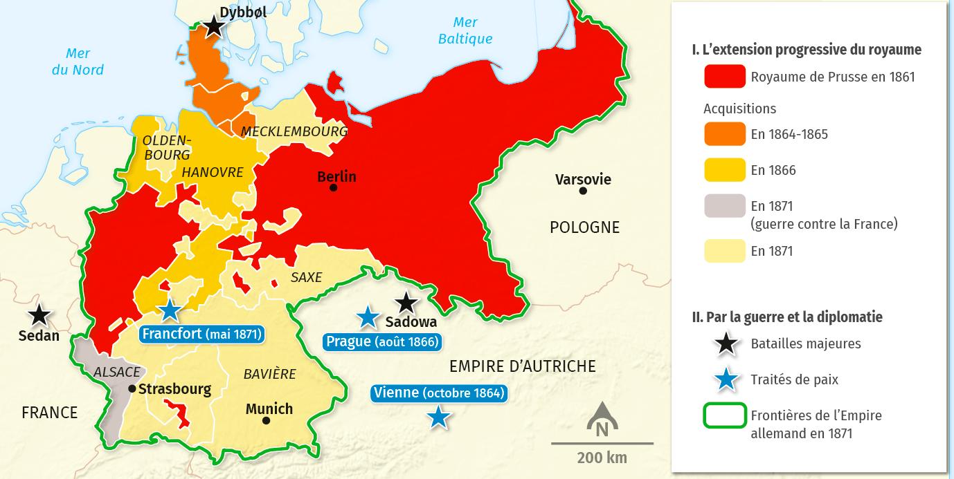 carte Les étapes de l'unité allemande