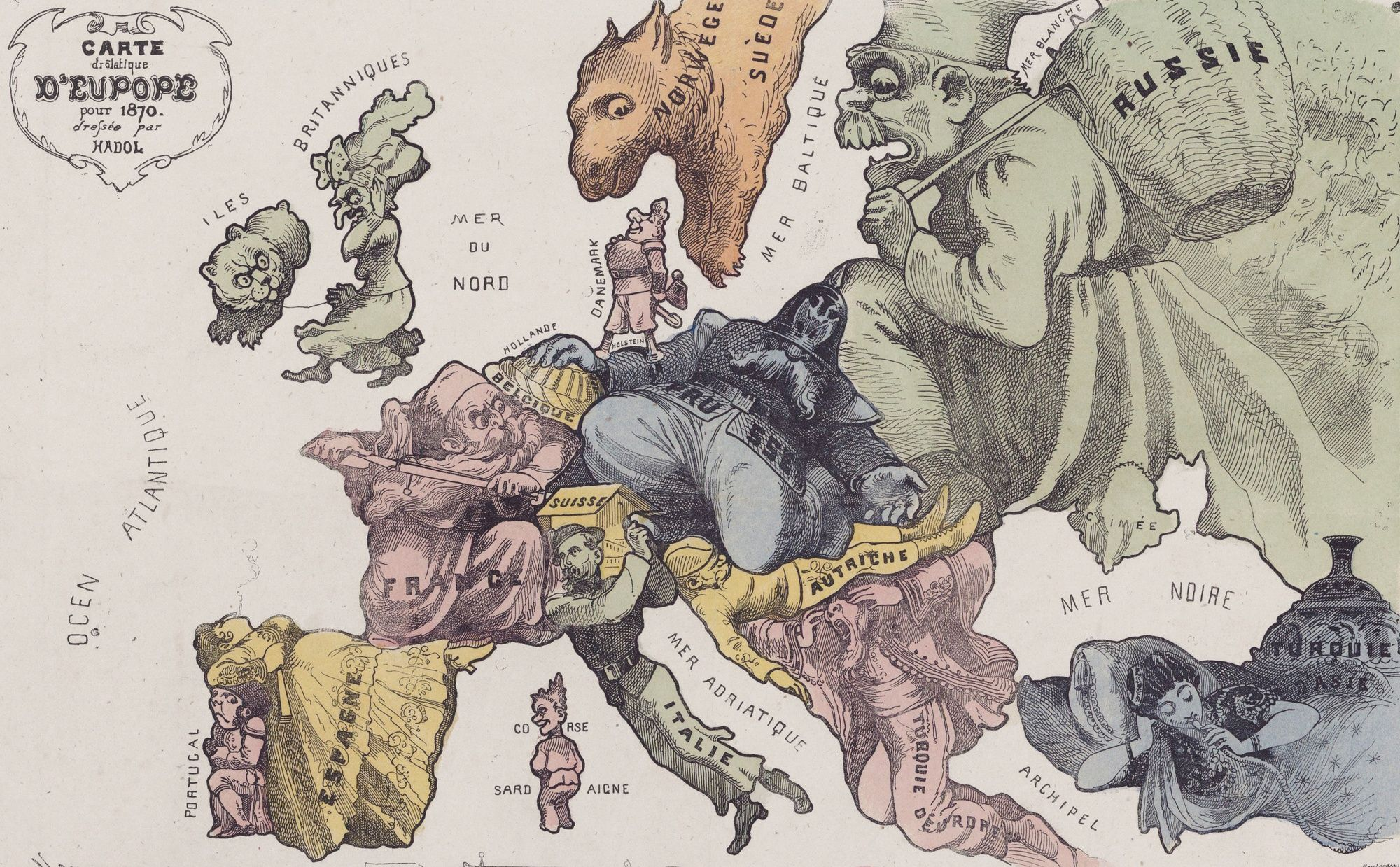 1870, Carte drôlatique d'Europe