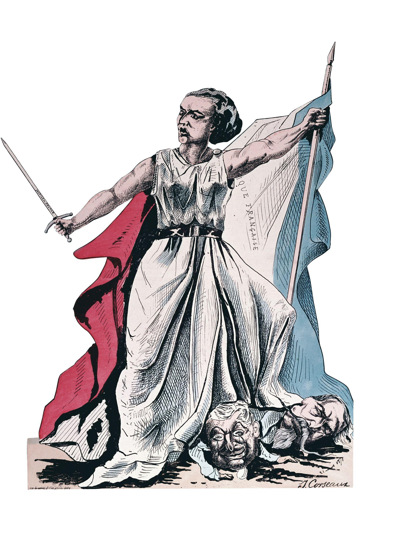 J. Corseaux, Louise Michel piétinant Thiers et Napoléon III