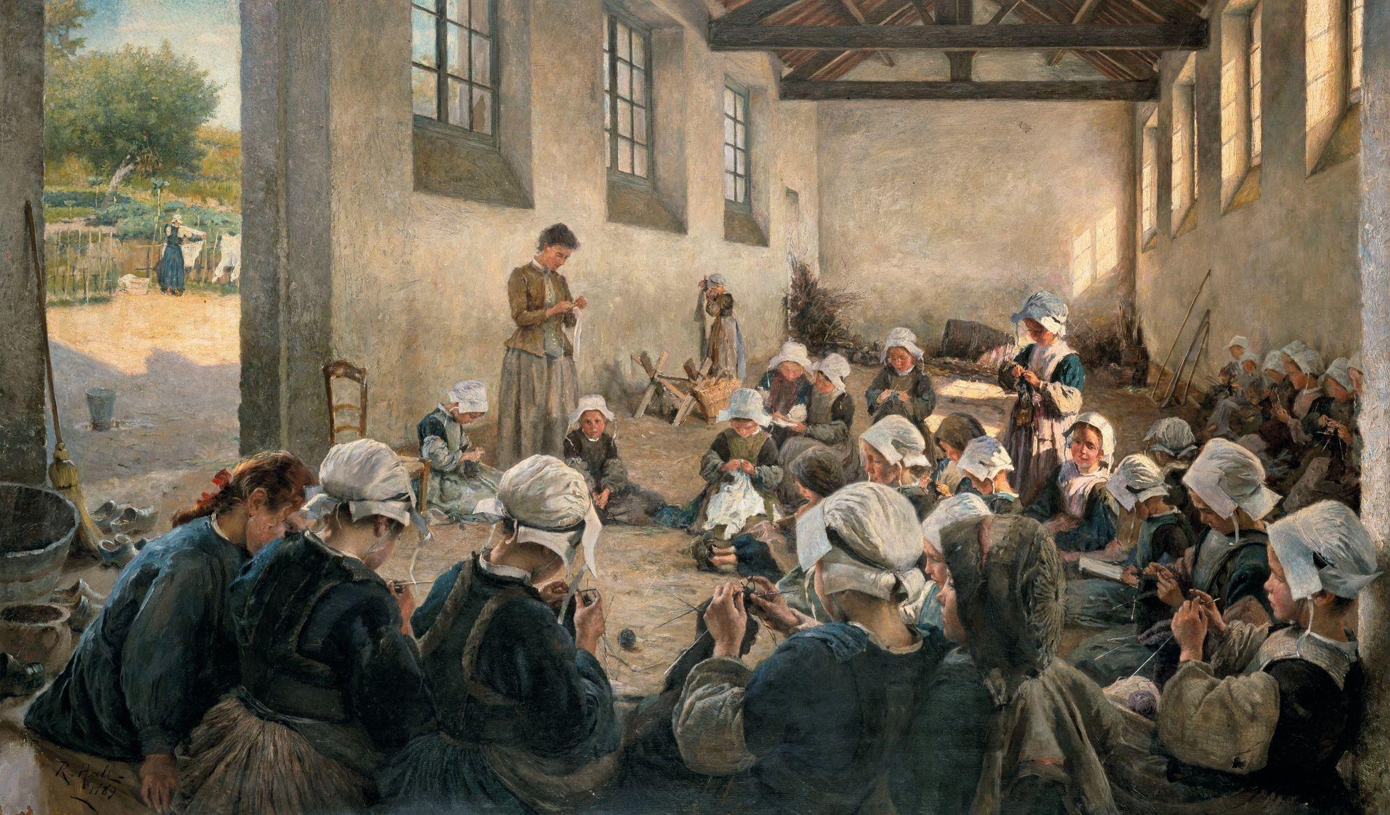 Richard Hall, La Classe manuelle. École de petites filles (Finistère)