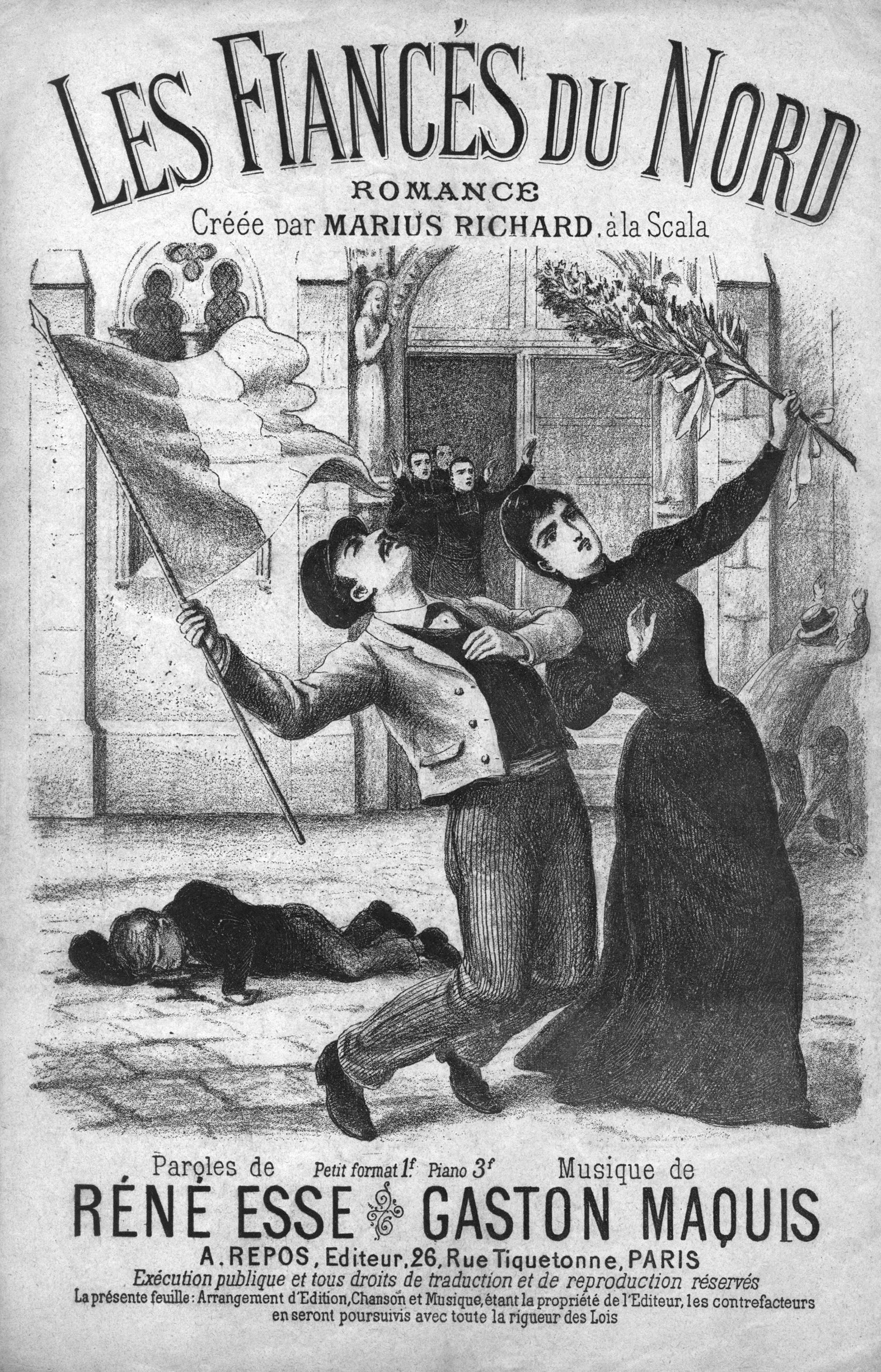 Anonyme, illustration de la chanson Les Fiancés du Nord, 1891