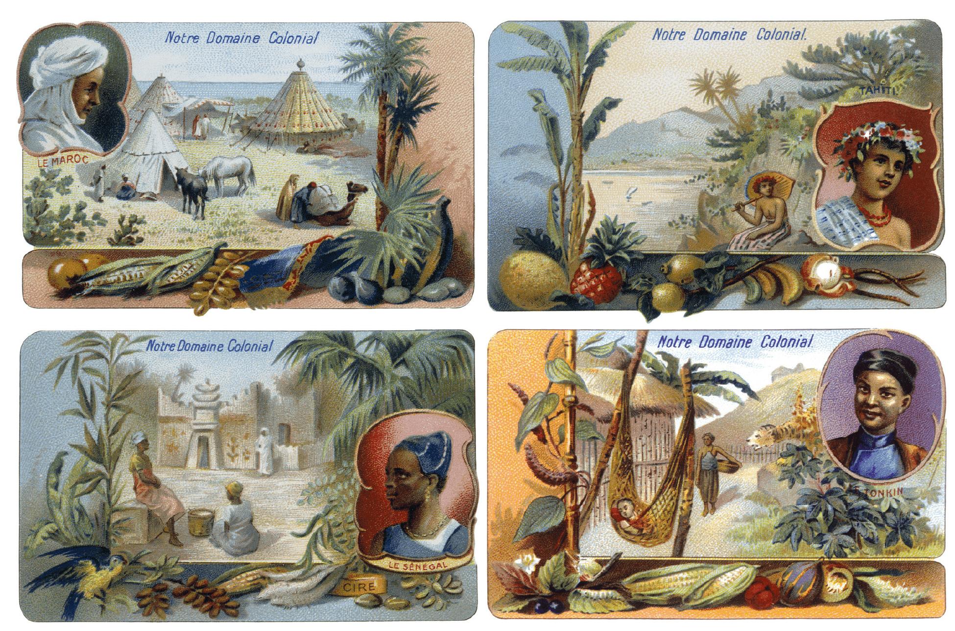 « Notre domaine colonial », série de douze chromos du chocolat Poulain, 1900