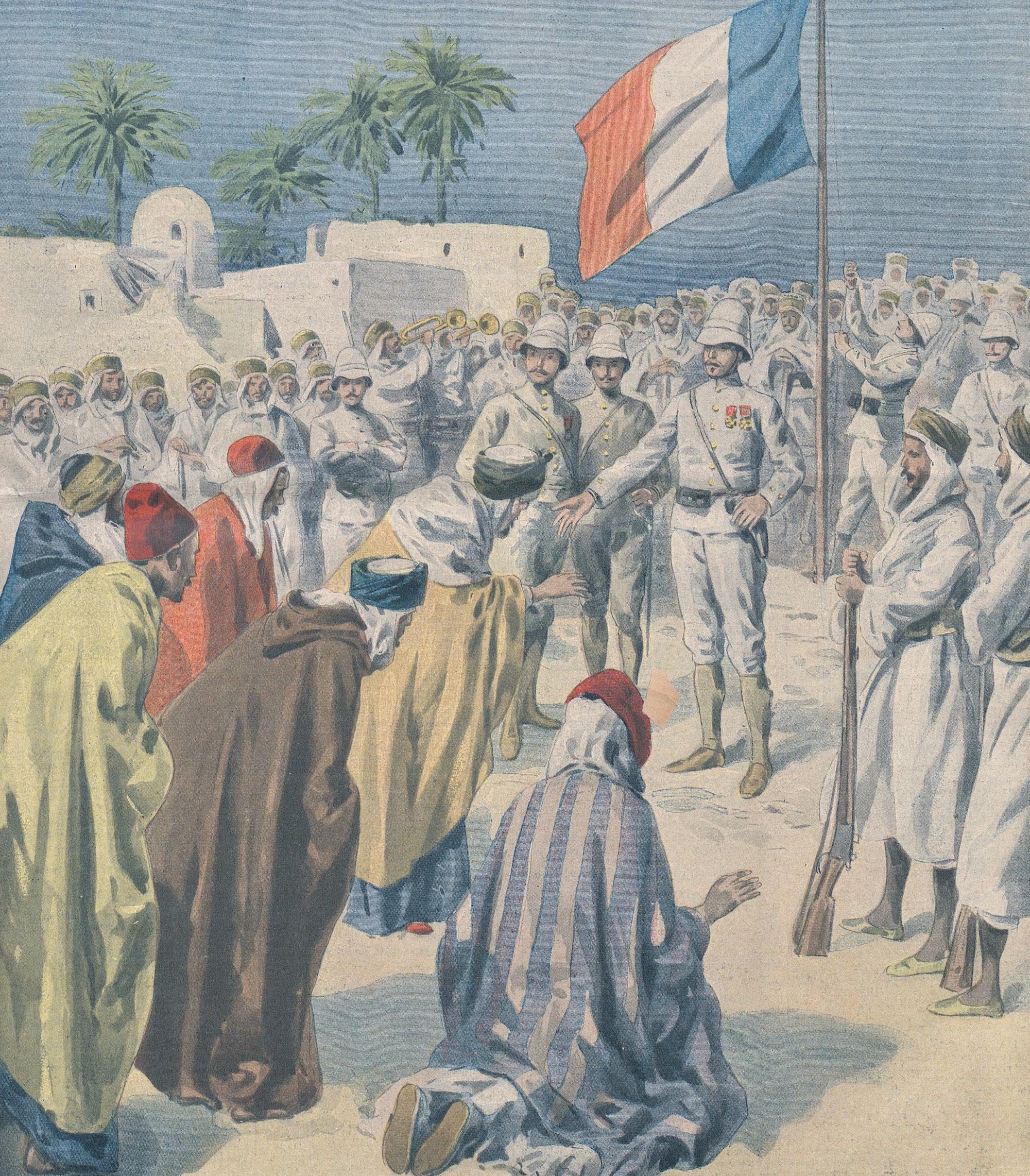 Algériens à genoux devant le drapeau français, Le Petit Journal