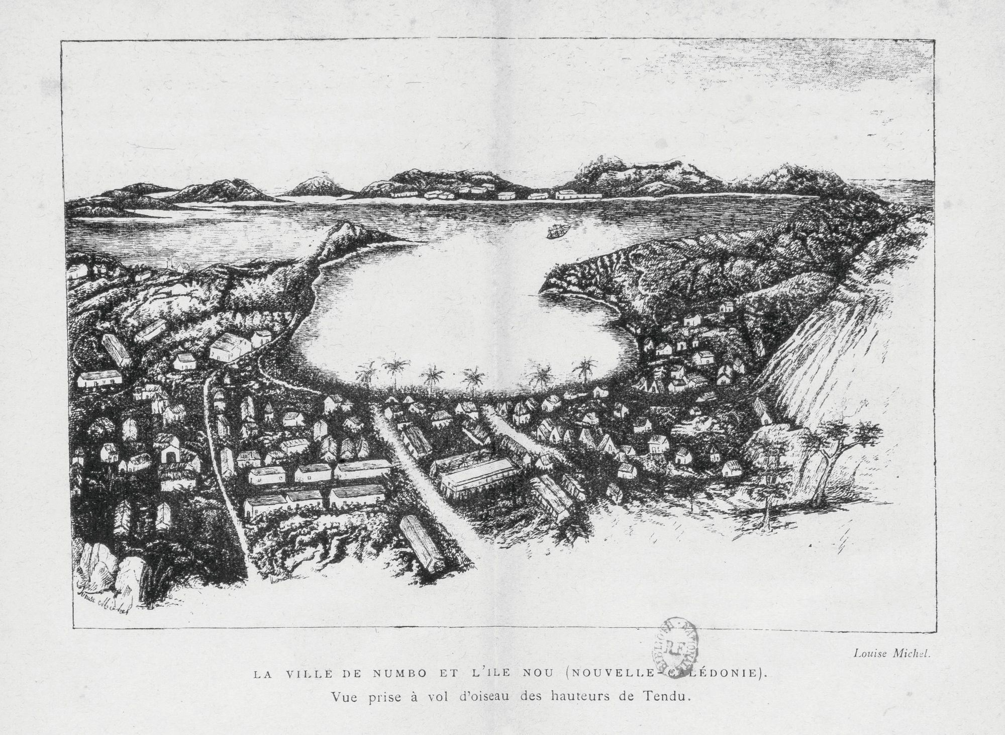 La ville de Numbo et l'île de Nou - Louise Michel, Légendes et chants de gestes canaques, 1885, dessin au fusain.