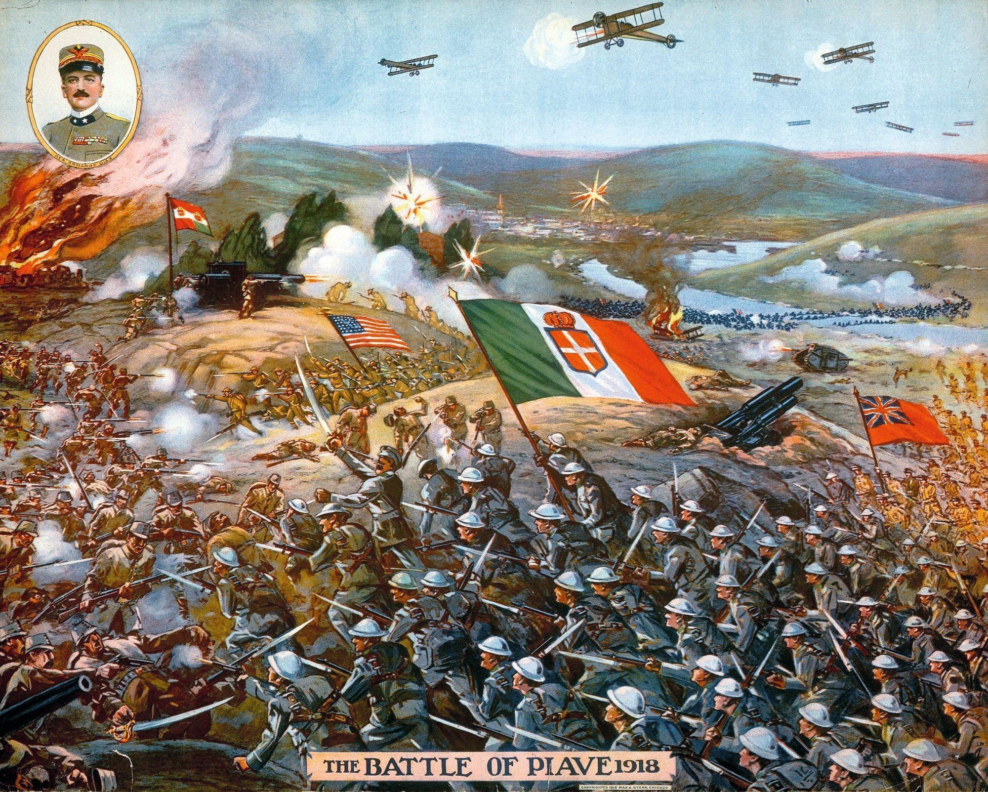 Bataille de Piave (octobre 1918), affiche imprimée en 1918 aux États-Unis