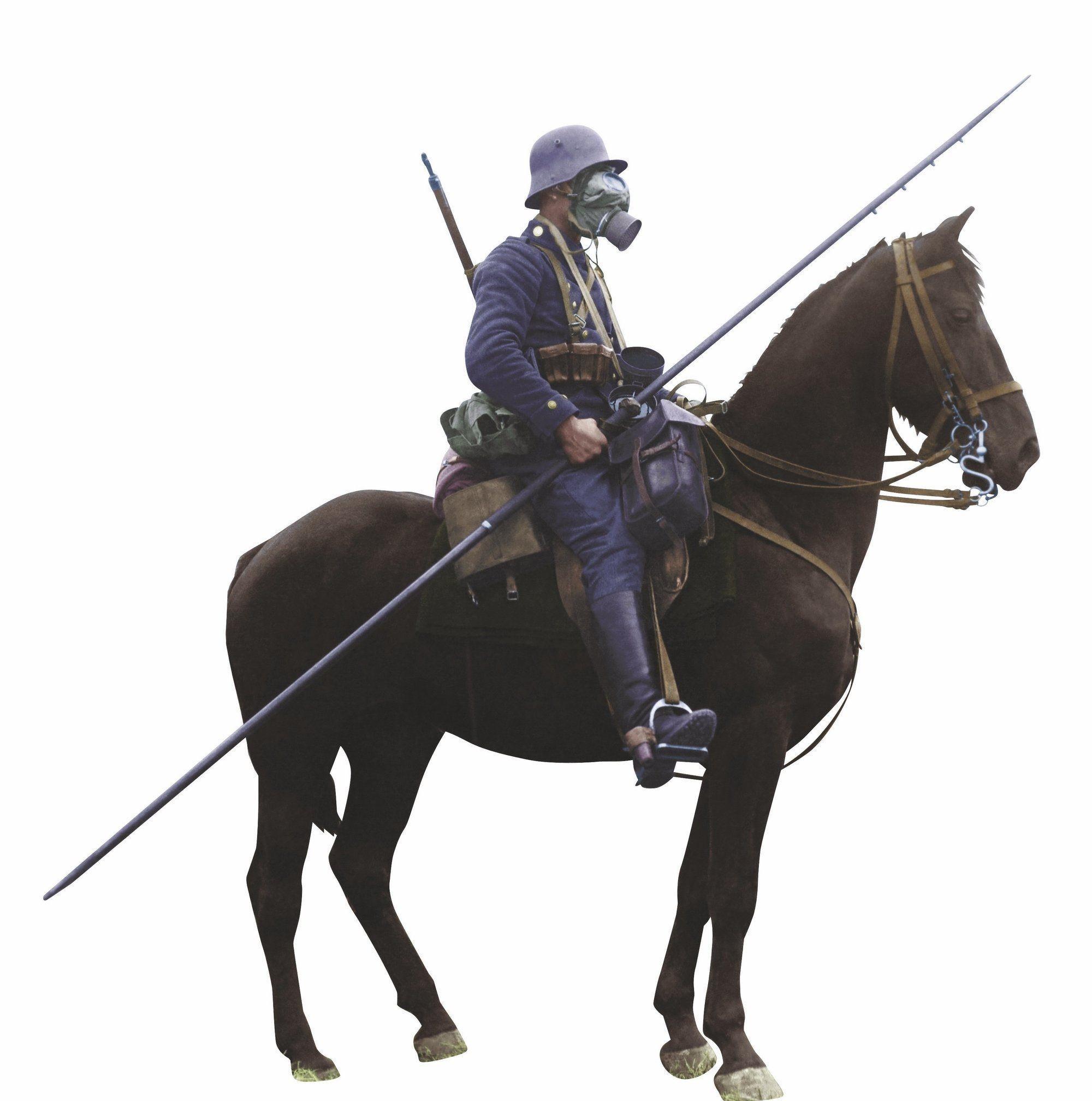 Un cavalier allemand avec son masque à gaz, photographie anonyme