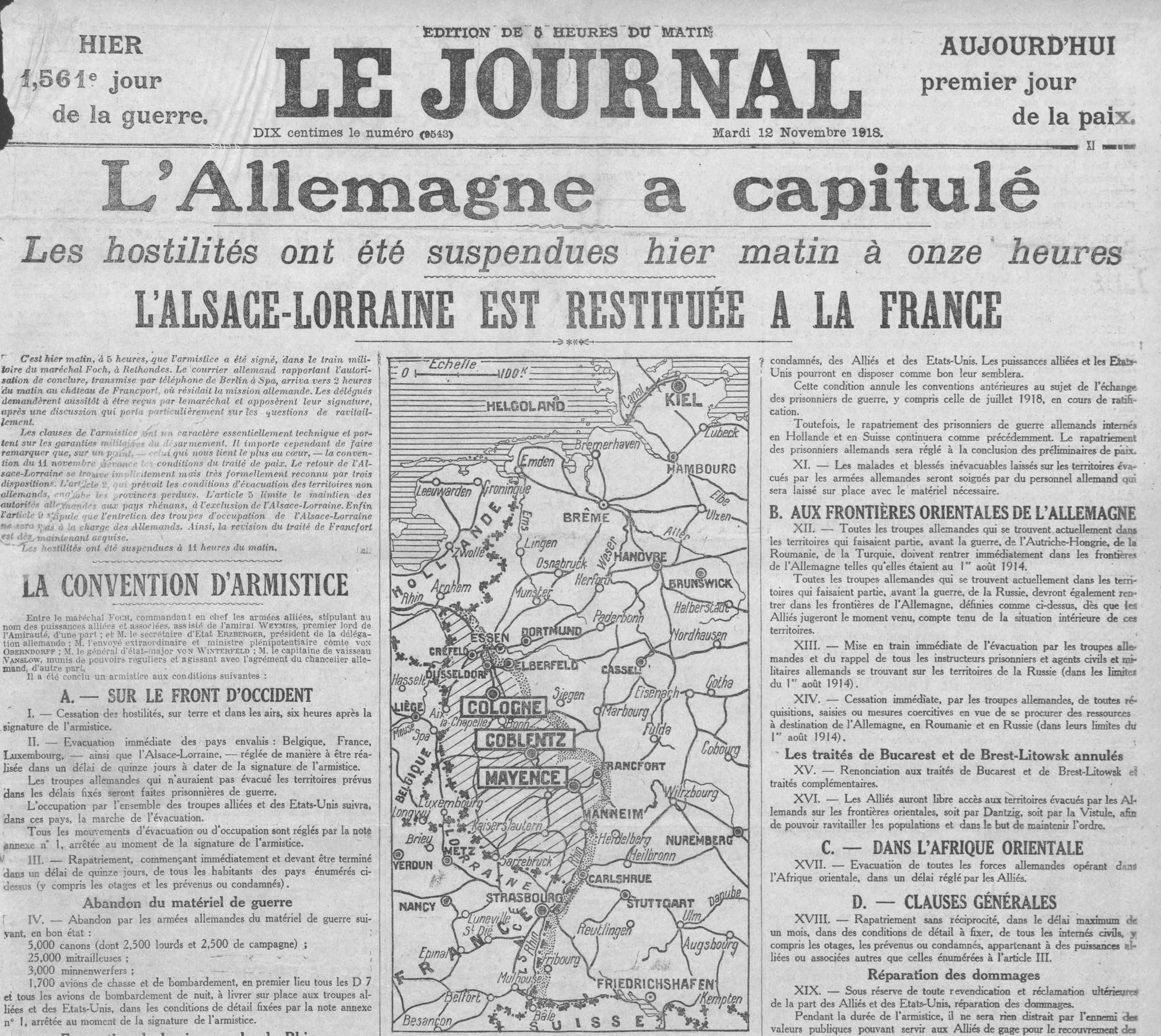La une du Journal du 12 novembre 1918