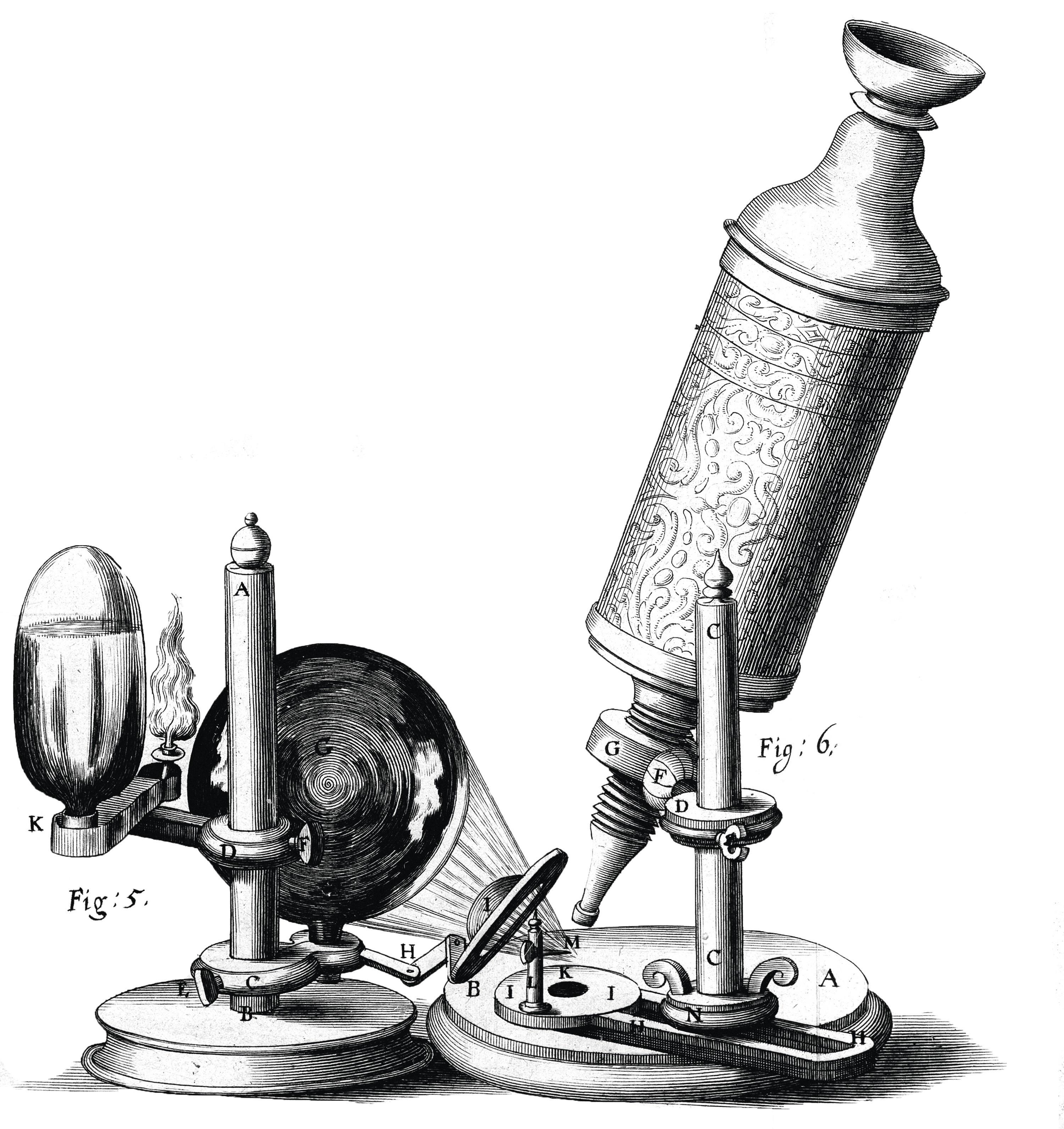 Représentation du microscope fabriqué par Robert Hooke.