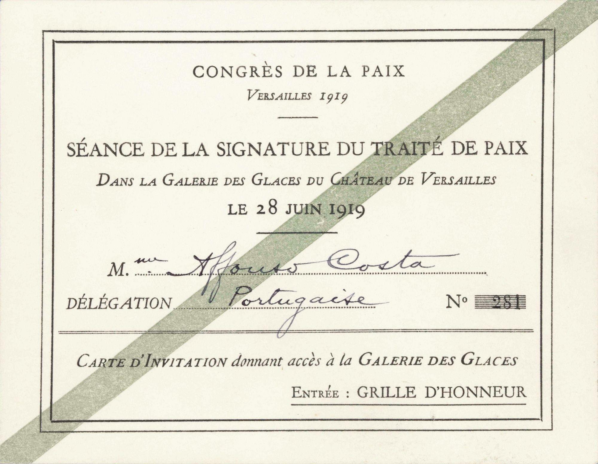 Invitation pour la signature du traité de Versailles