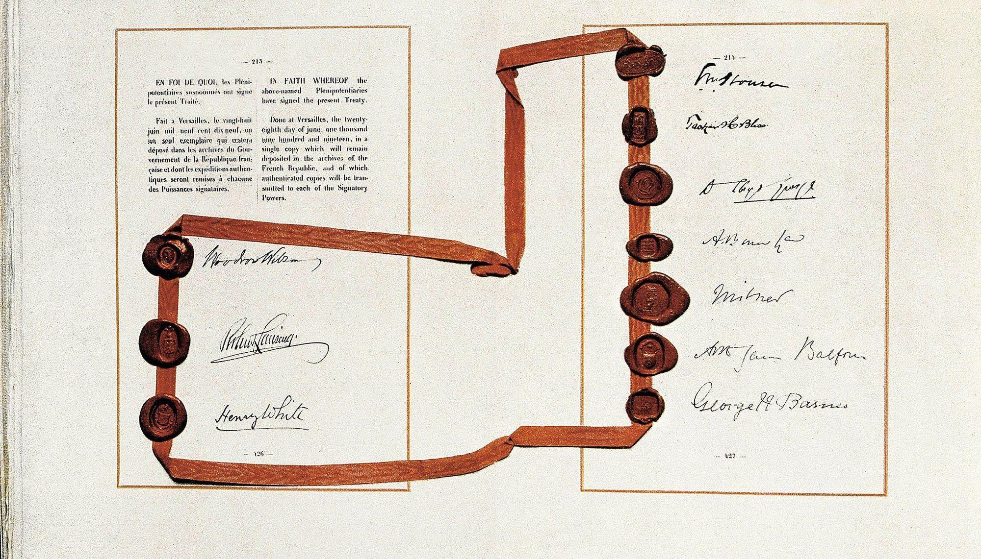 Document original du traité de Versailles