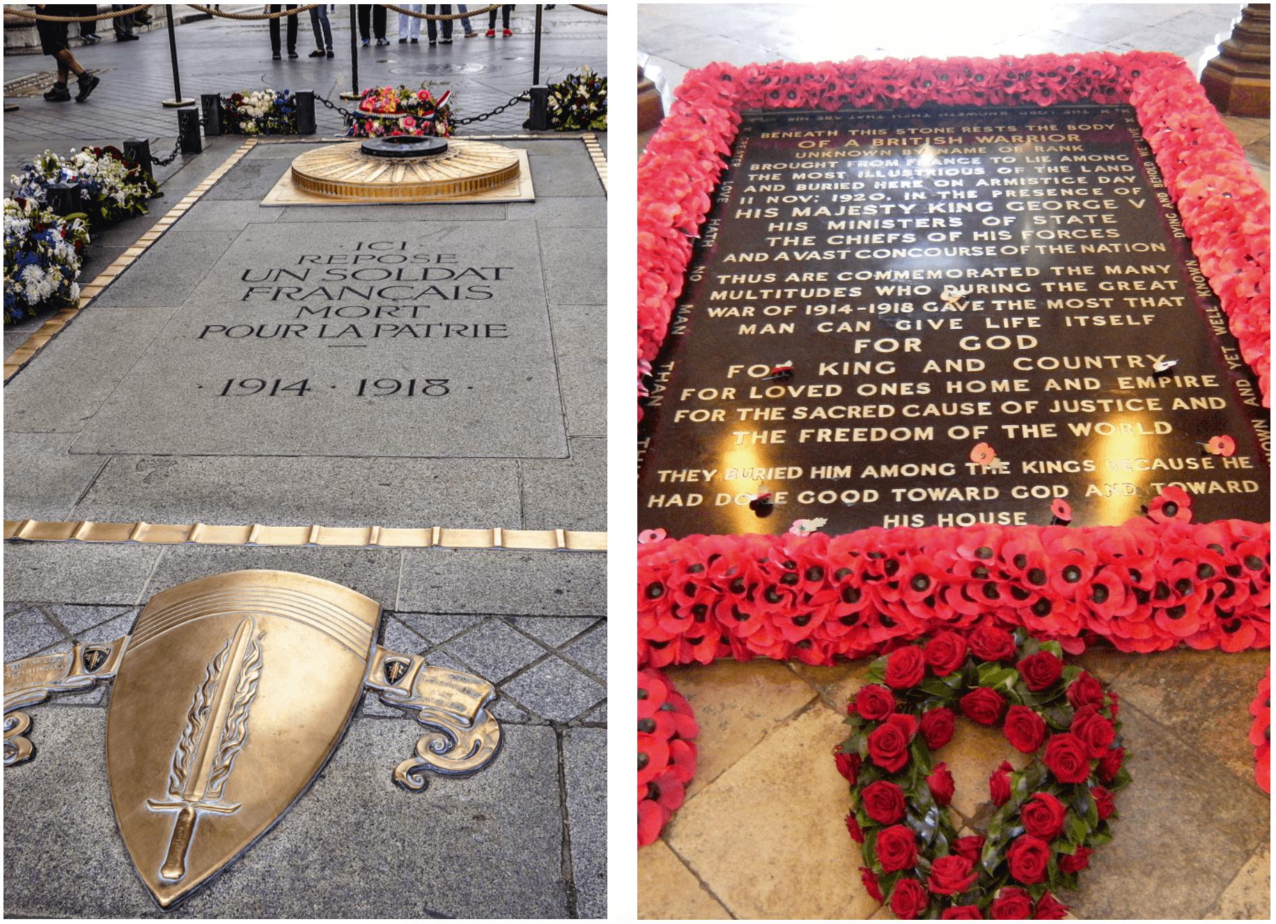 Tombes des soldats inconnus de France et du Royaume-Uni