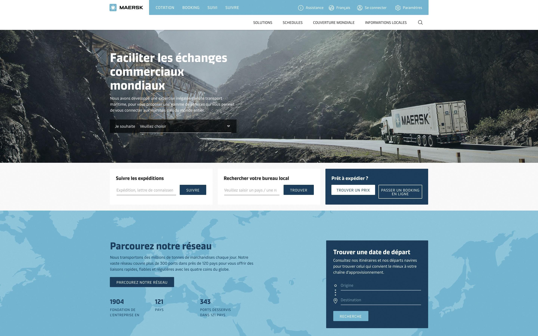 La page d'accueil de Maersk.com