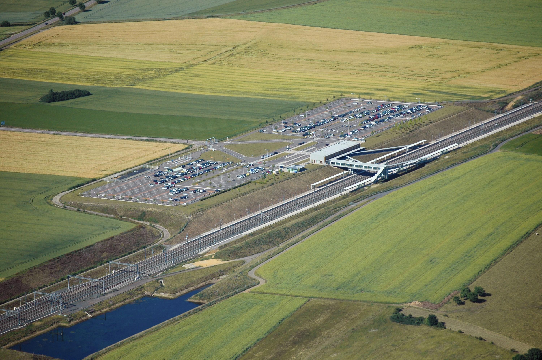 Photographie aérienne de la gare Lorraine-TGV