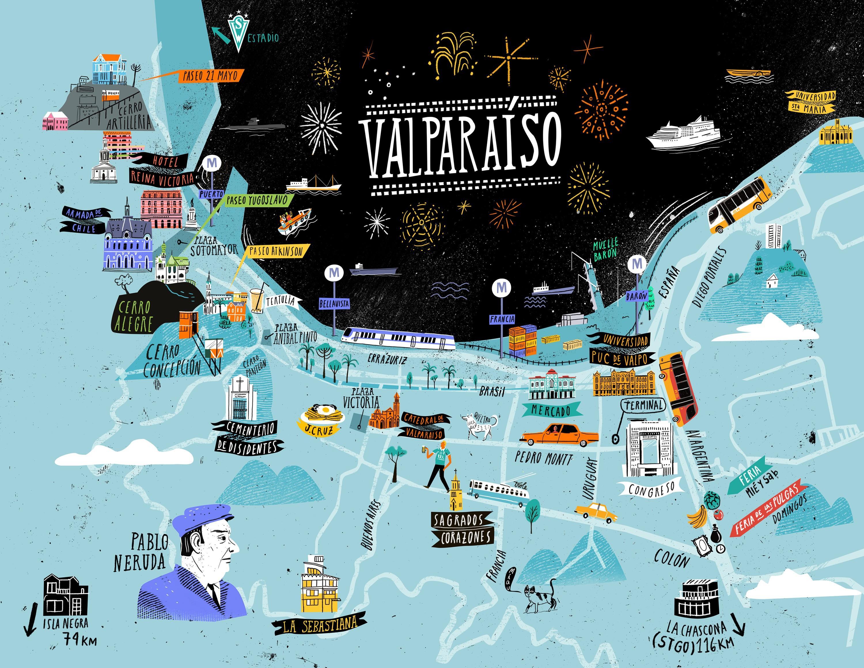 Oyematias, Mapa de Valparaíso, 2014.