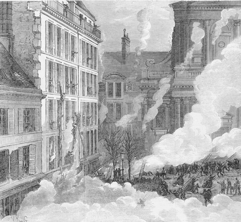 Explosion dans le magasin de M. Fontaine, place de la Sorbonne à Paris, Le Monde illustré, 27 mars 1869.