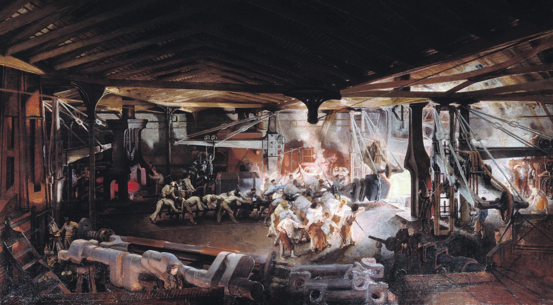 François Bonhommé, Forgeage au marteau-pilon dans les ateliers d'Indret de l'arbre coudé d'une frégate à hélice de 600 chevaux, v. 1865, huile sur toile, 125 x 220 cm, Écomusée, Creusot.