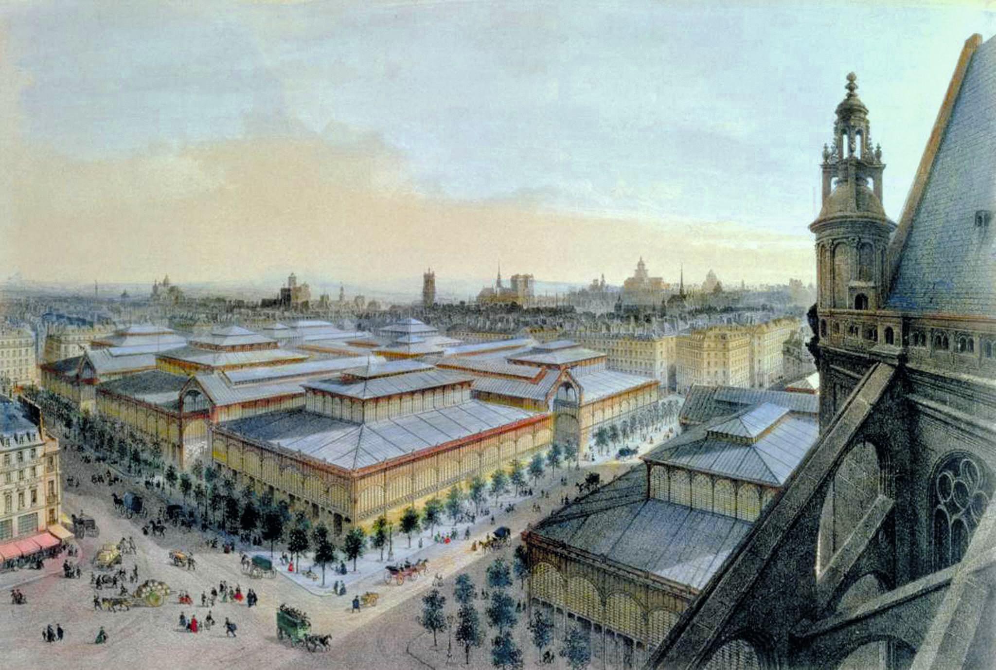 Félix Benoist, Vue des Halles de Paris, v. 1870, lithographie en couleur, 24,8 x 36,8 cm, BnF, Paris.