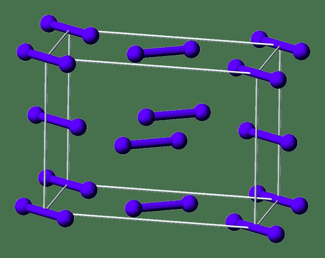 Organisation des molécules de diiode à l'état solide