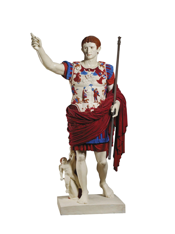 Moulage de plâtre de la statue d'Auguste Prima Porta et restitution de la peinture d'origine