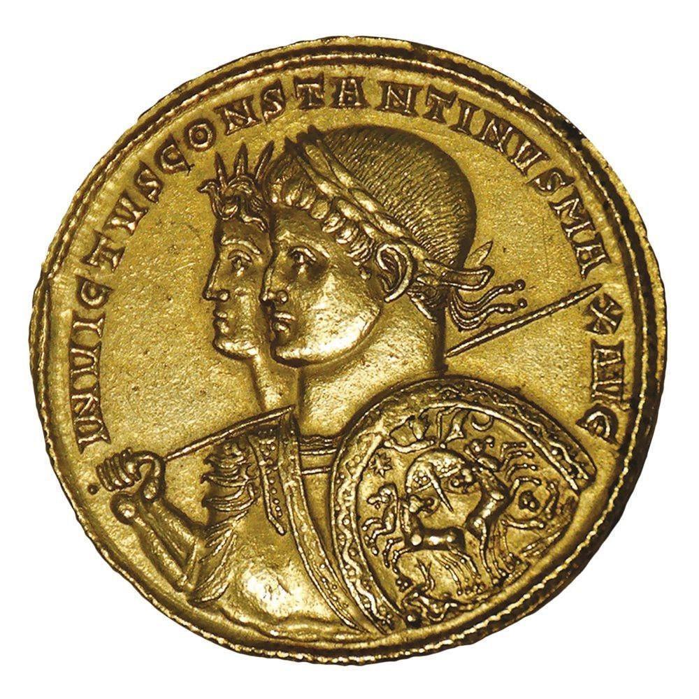 Monnaie d'or (Solidus) représentant Constantin et le dieu Soleil (Sol Invictus), 313, musée des Médailles, Pavie.