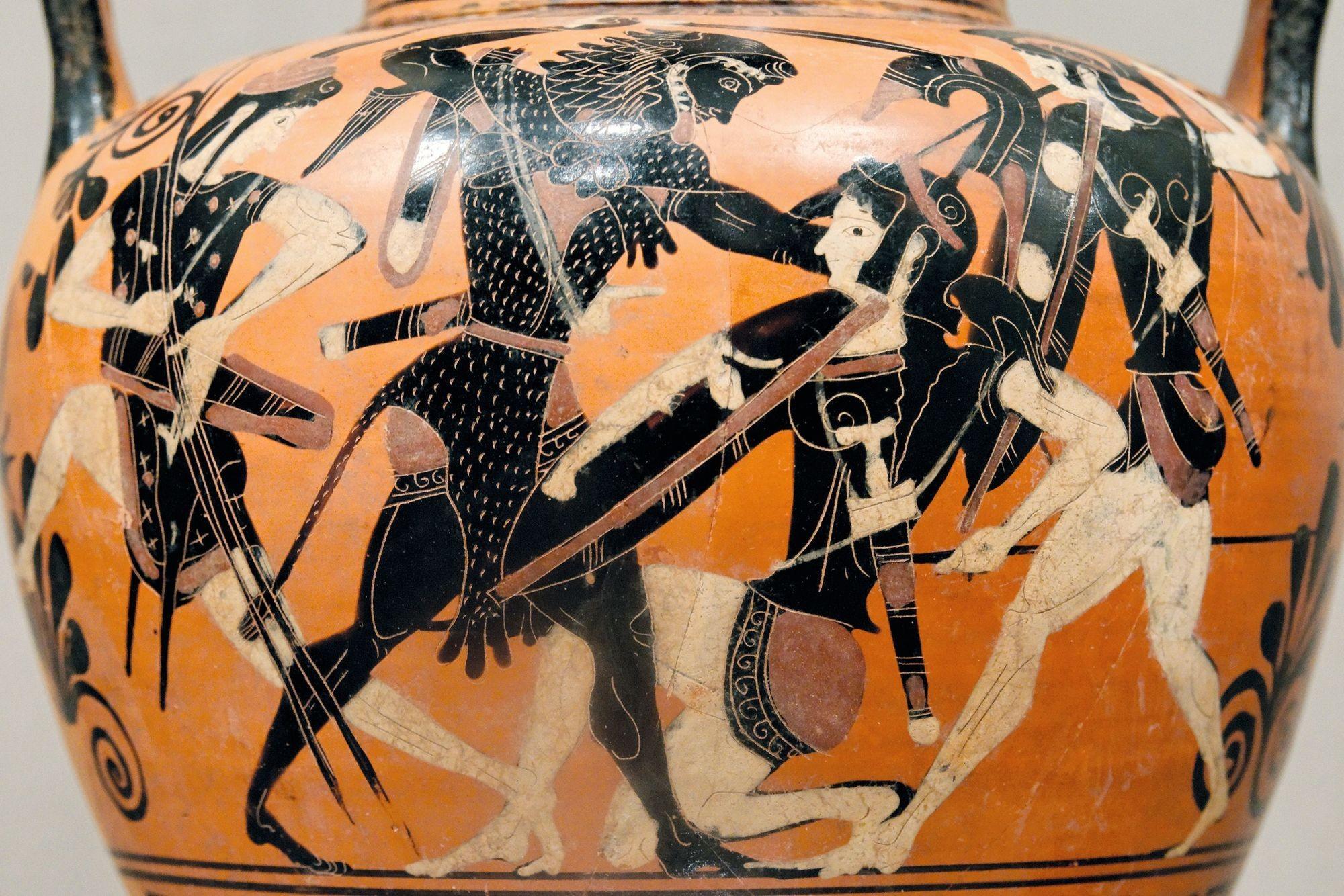 Amphore attique à figures noires (détail), v. 520 av. J.-C