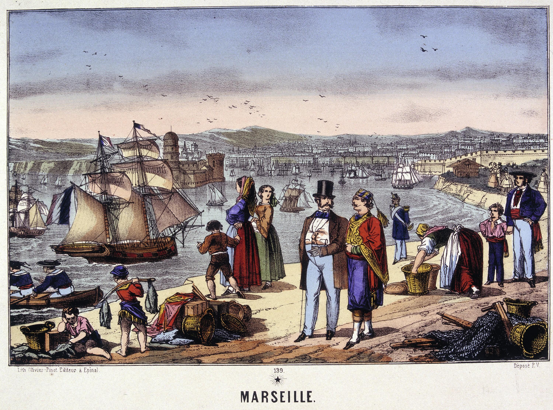 Vue du port de Marseille, gravure en couleur, v. 1857.