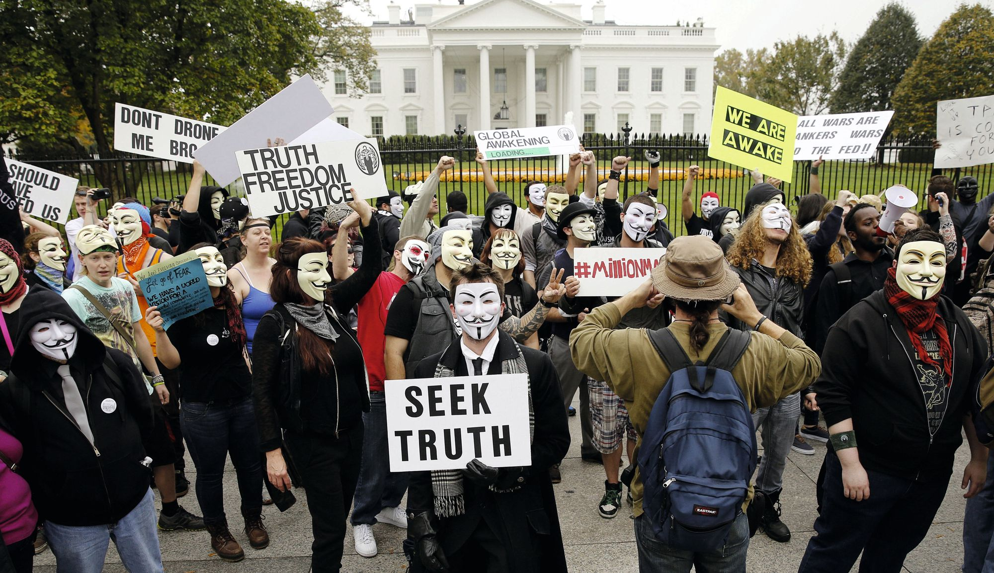 Members of Anonymous in front of the White House during the Million Masks March, 2015.