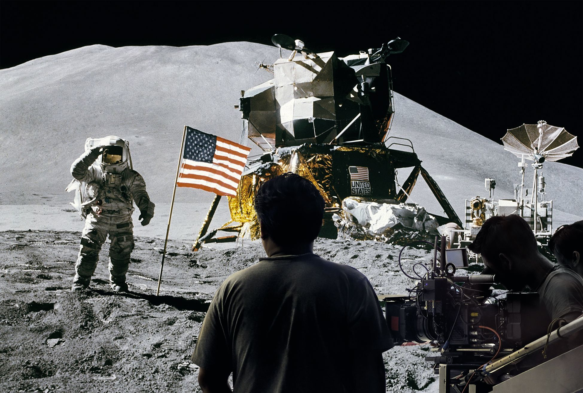 Astronaut James B. Irwin during Apollo 15 mission, 1971. Photomontage by A. Dos Santos, 2019.