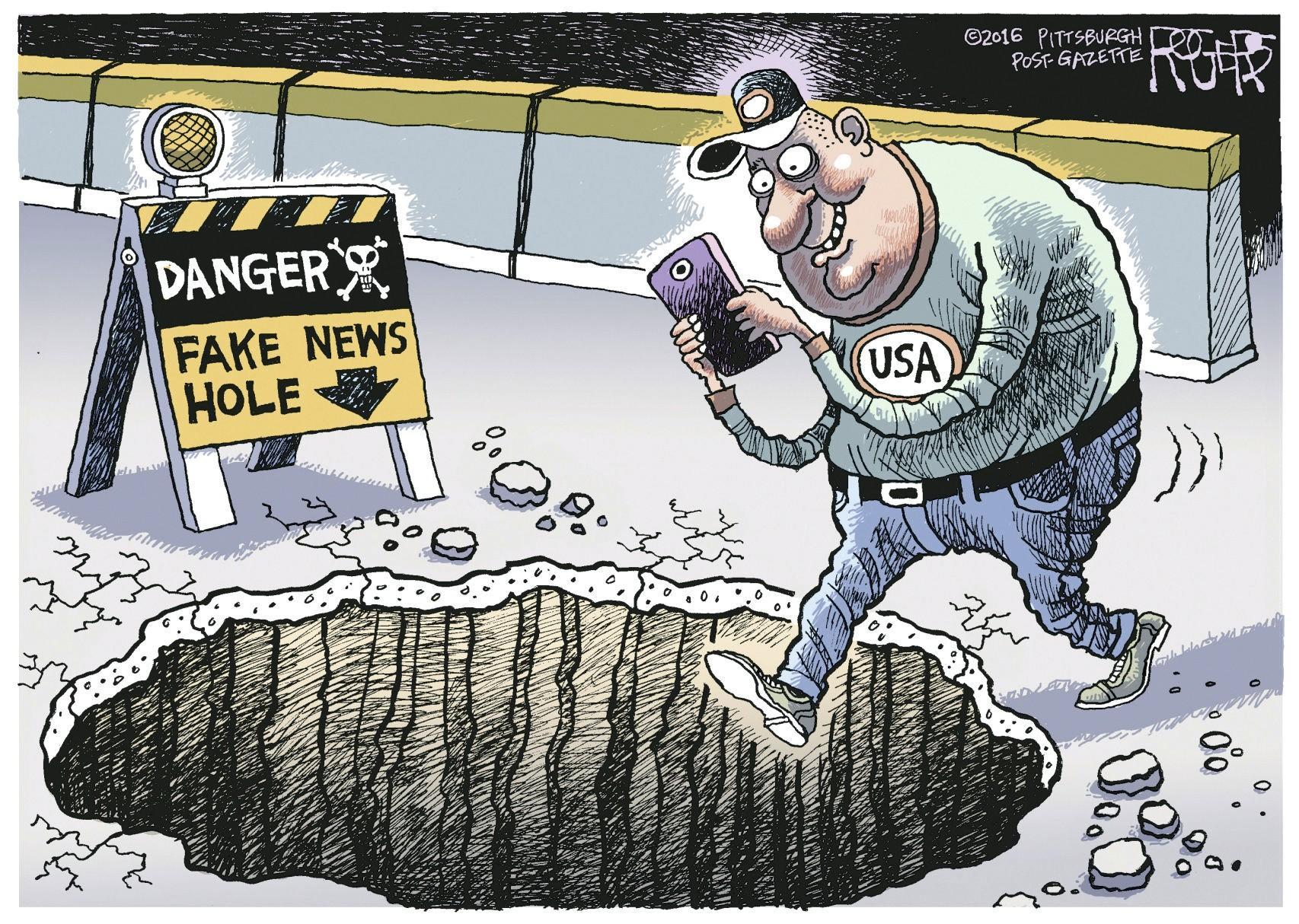 News Hole, Rob Rogers, Pittsburgh Post Gazette, 2016.