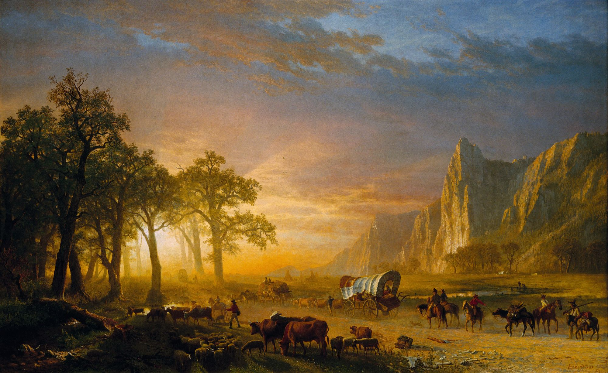 Emigrants Crossing the Plains, Albert Bierstadt, 1869.