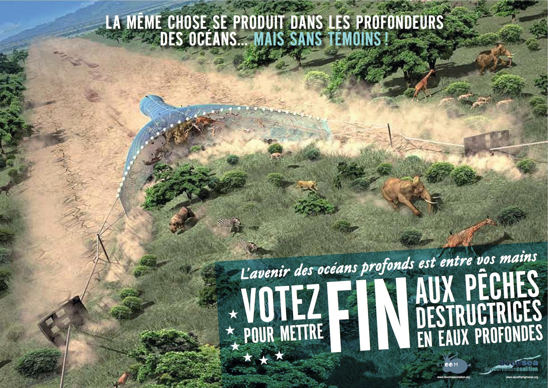 Affiche de l'association Bloom qui milite en faveur de la pêche artisanale, 2014.