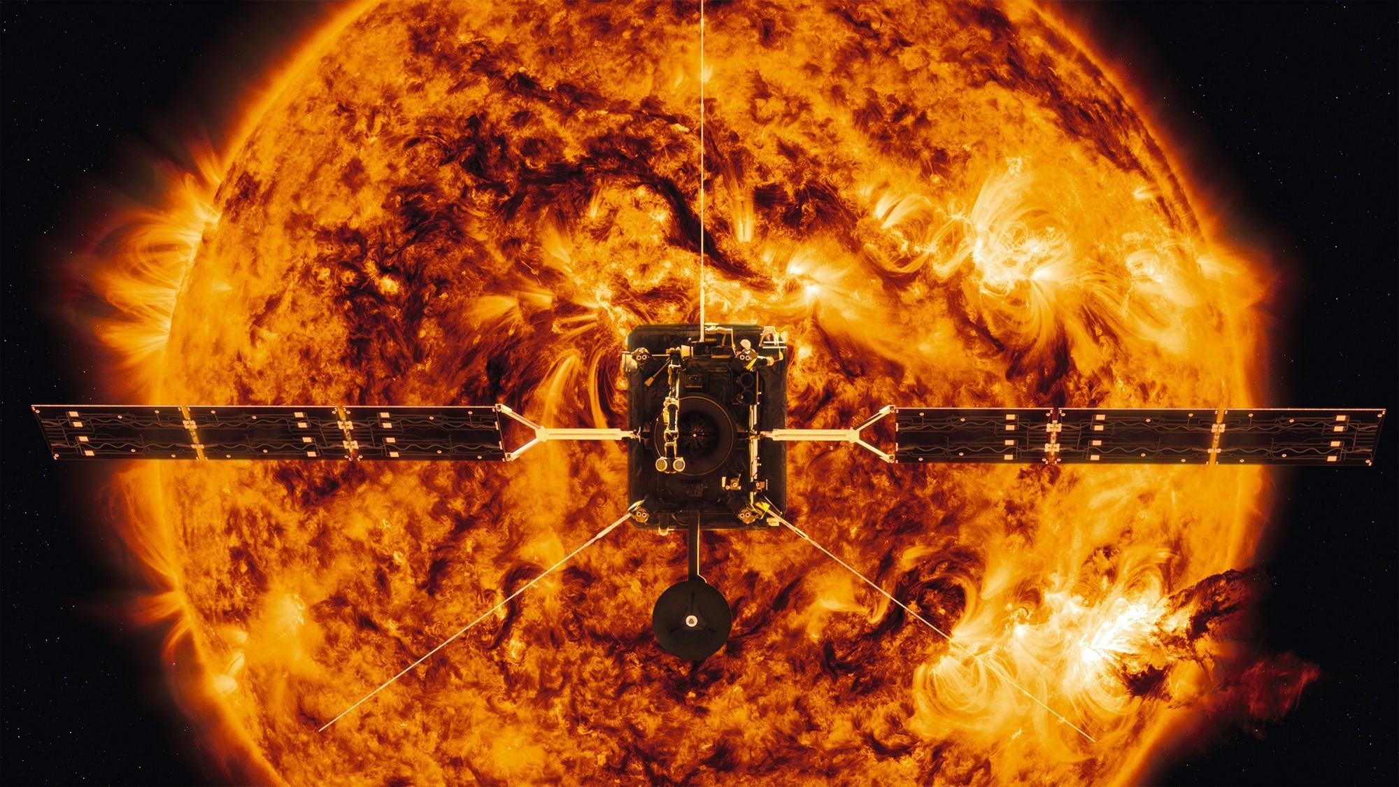 Solar Orbiter devant le soleil