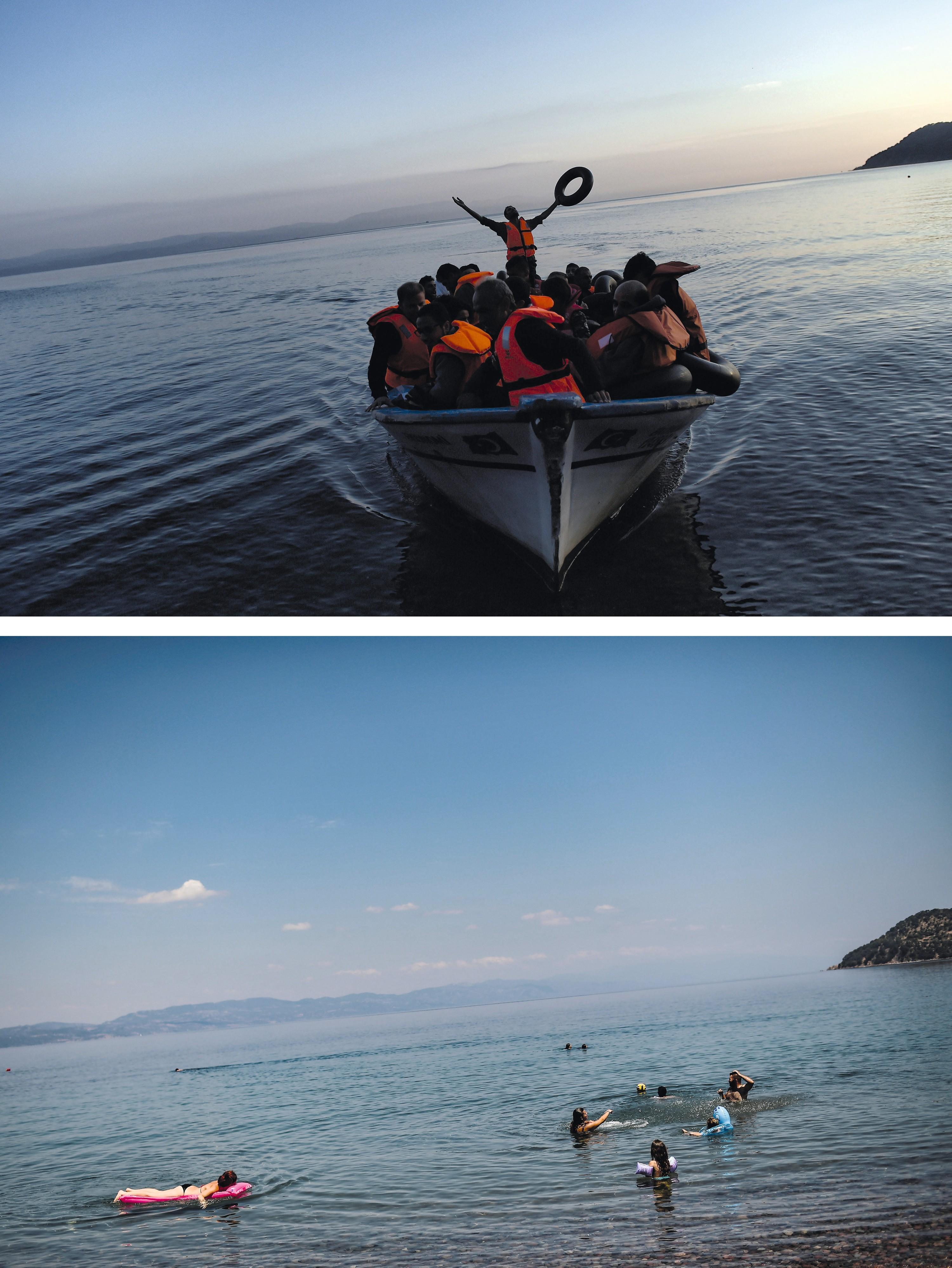 L'île grecque de Lesbos en 2015 (haut) et 2018 (bas)
