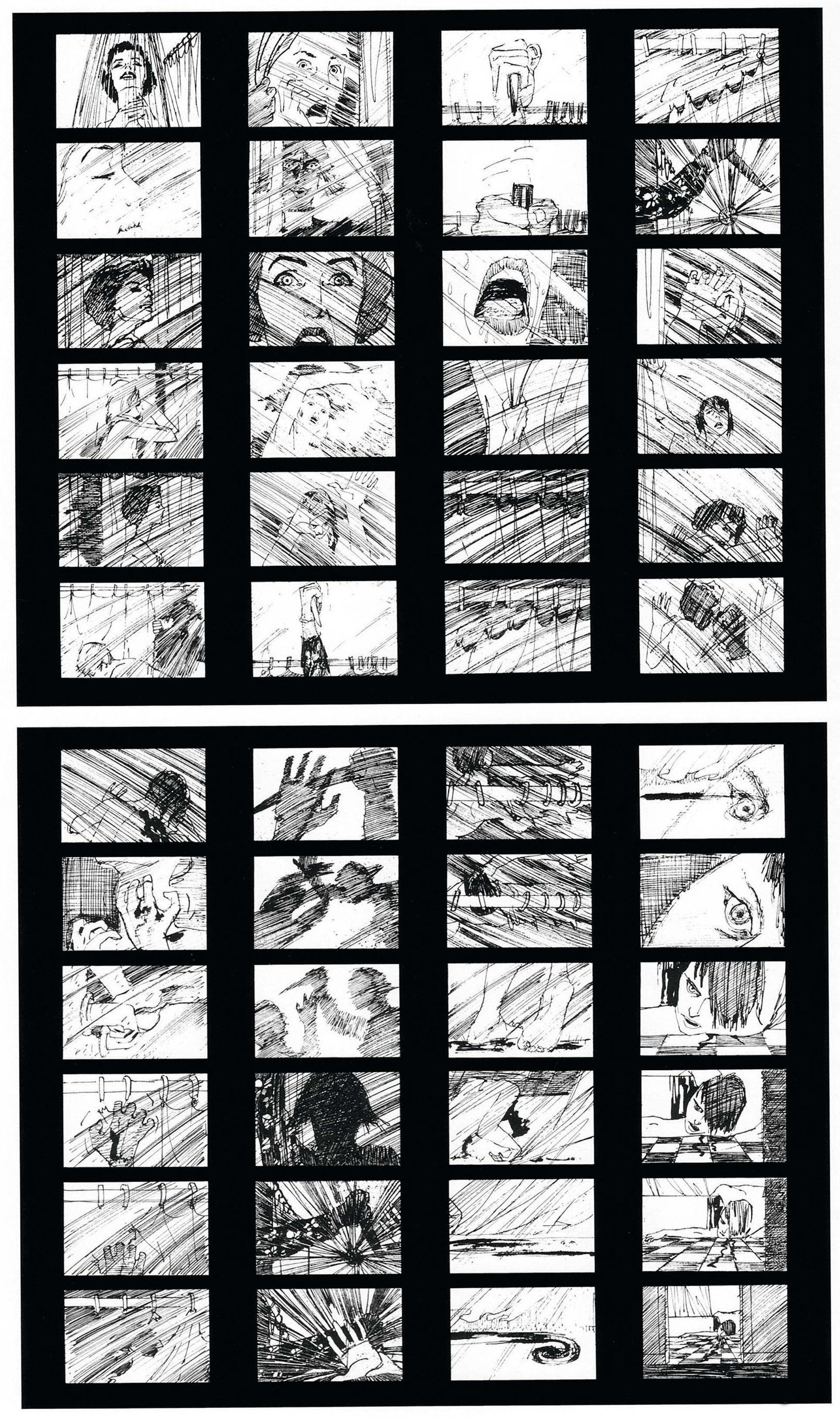 Psychose, réalisé par Alfred Hitchcock, storyboard de Saul Bass, 1960.