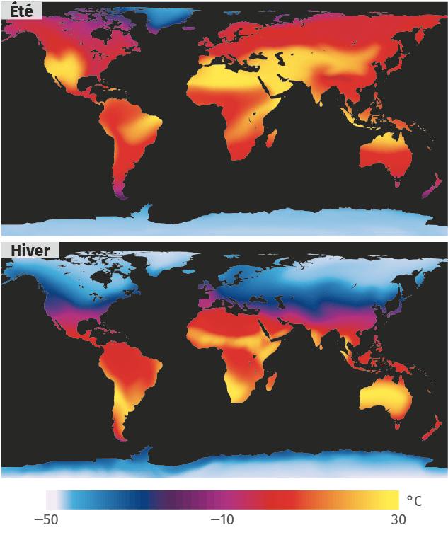 Cartes de températures au solstice d'été et au solstice d'hiver
