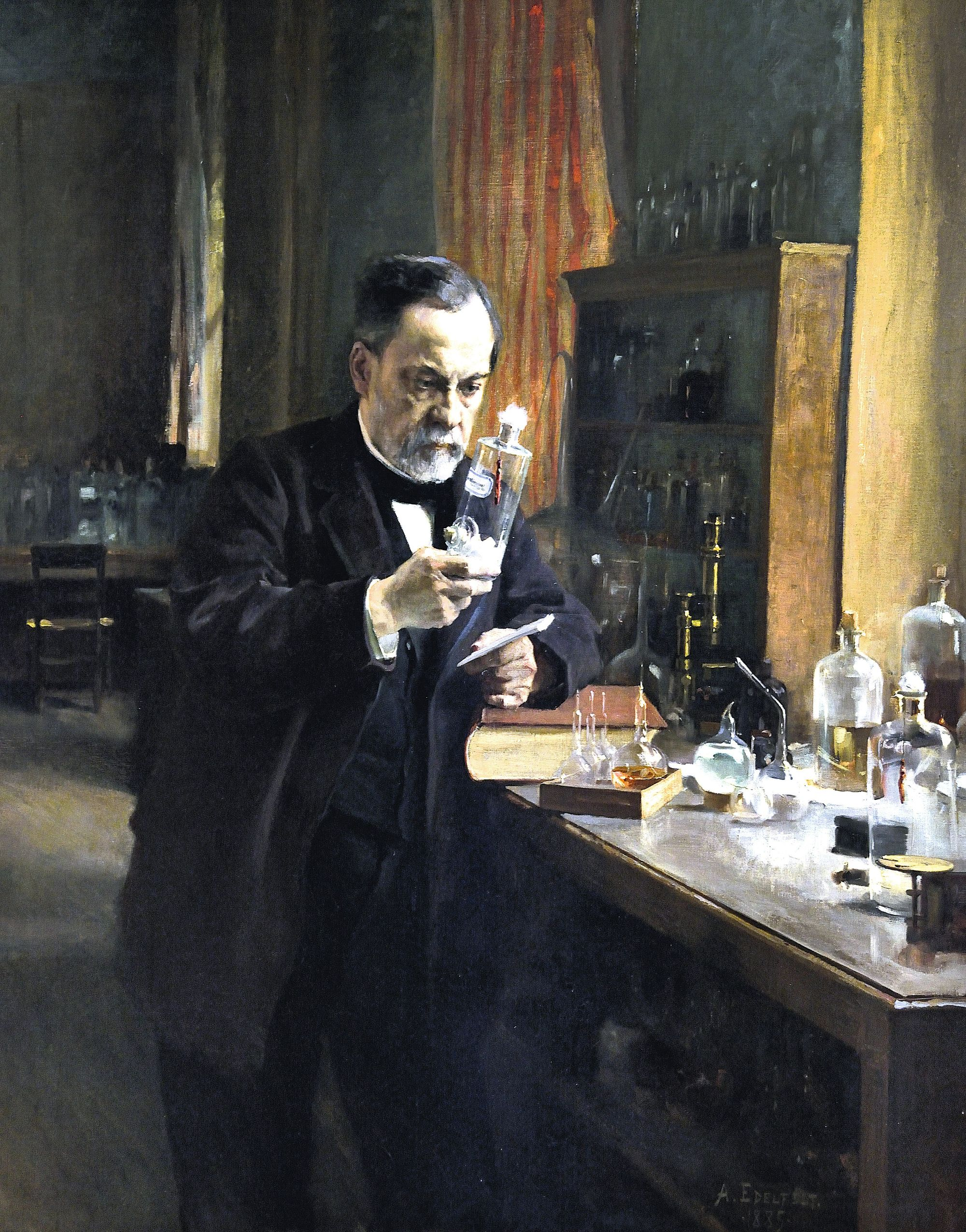 Louis Pasteur découvrant le principe du vaccin par accident.